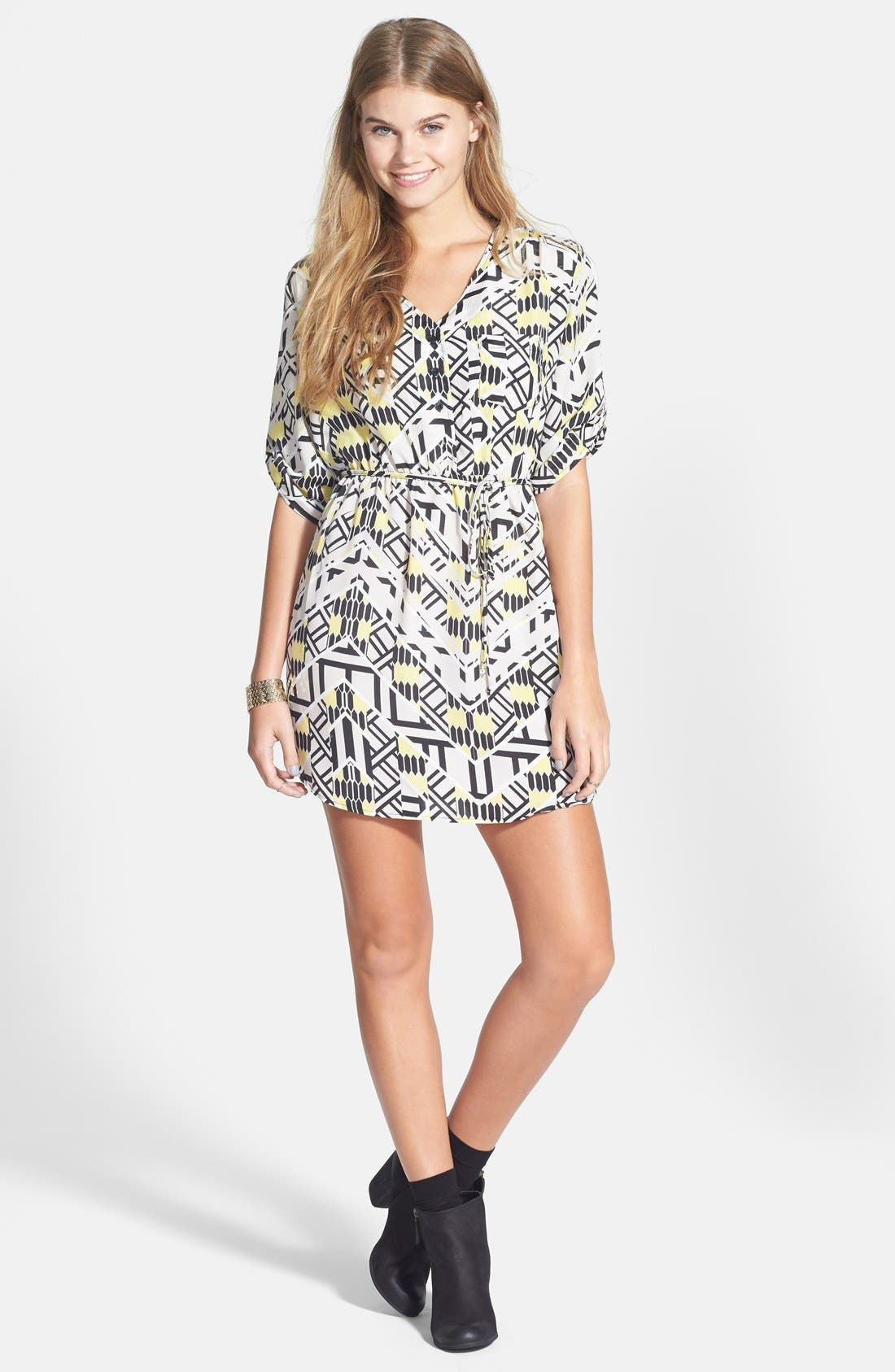 Alternate Image 3  - Mimi Chica Print Shirtdress (Juniors) (Online Only)