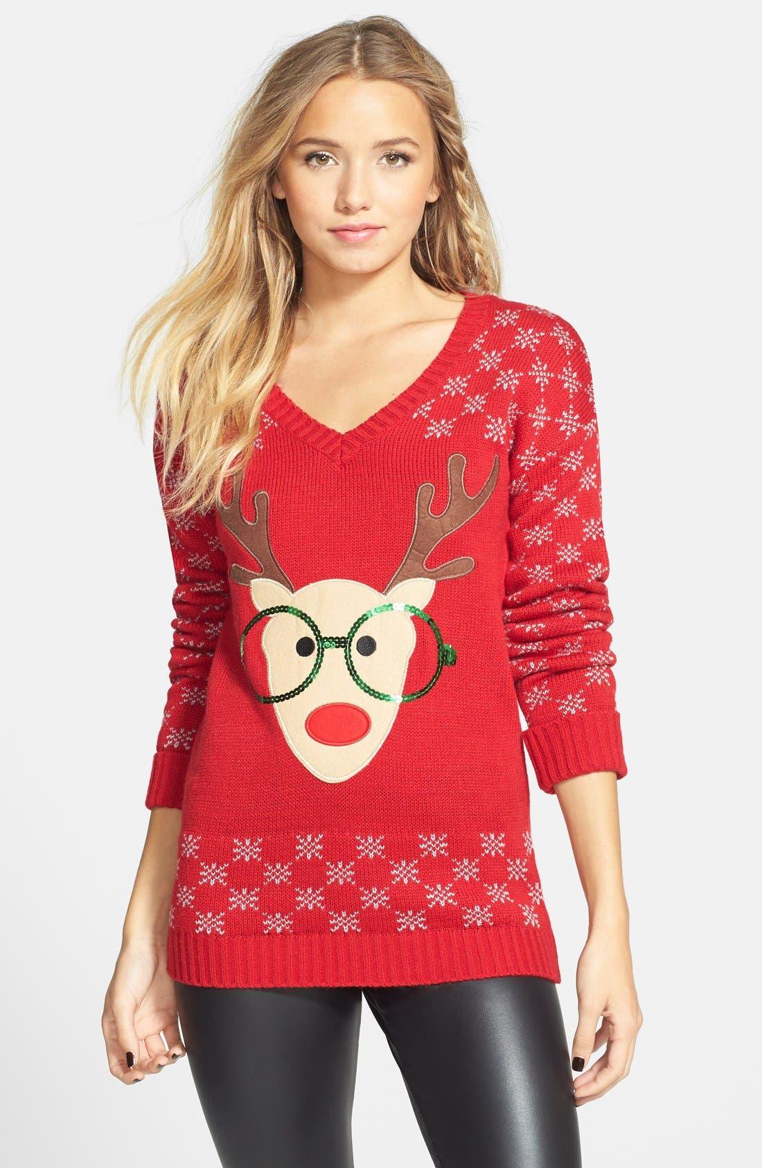 Alternate Image 1 Selected - Derek Heart Reindeer Sequin Sweater (Juniors)