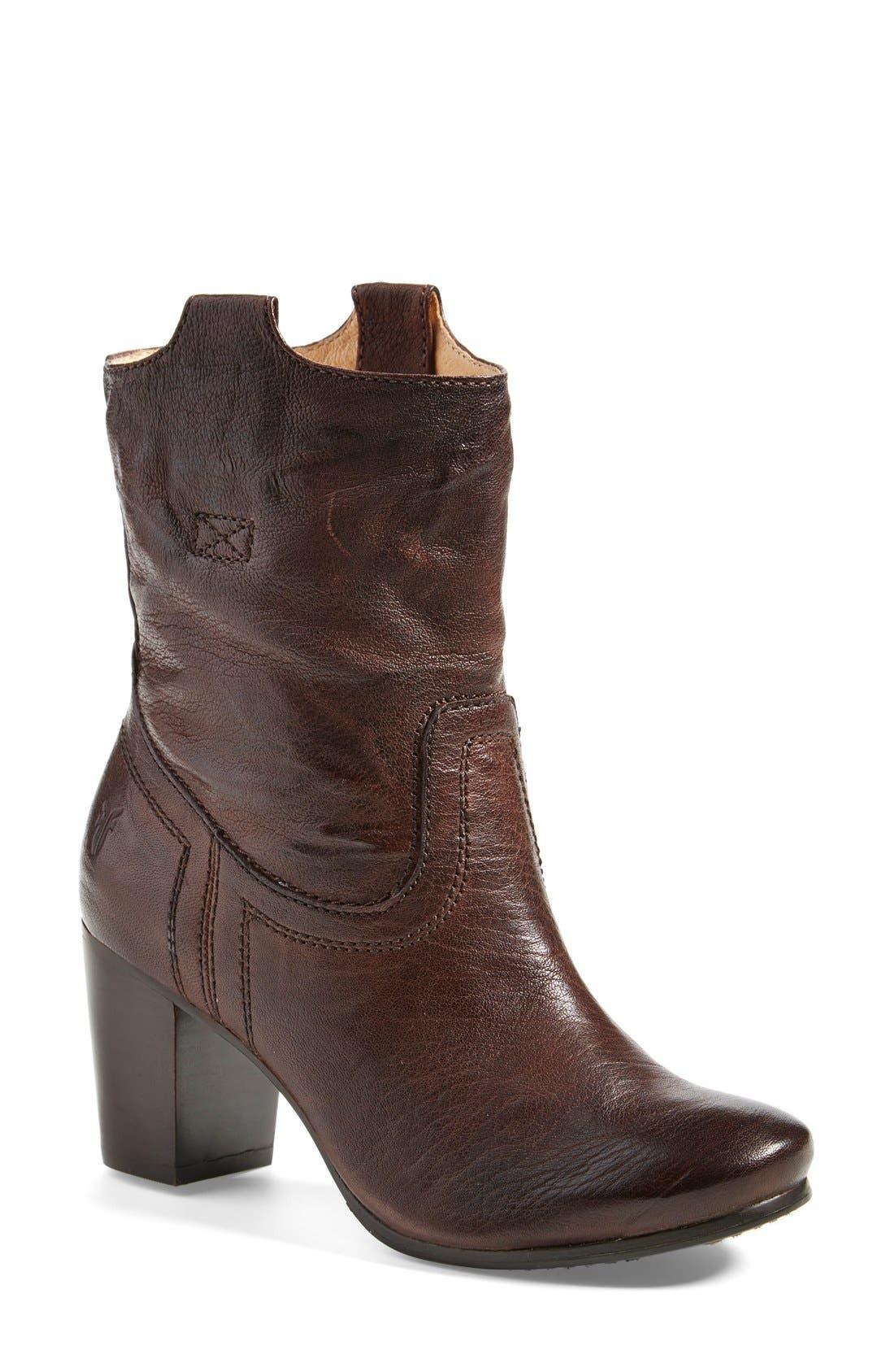 Main Image - Frye 'Carson' Mid Heel Tab Short Boot (Women)