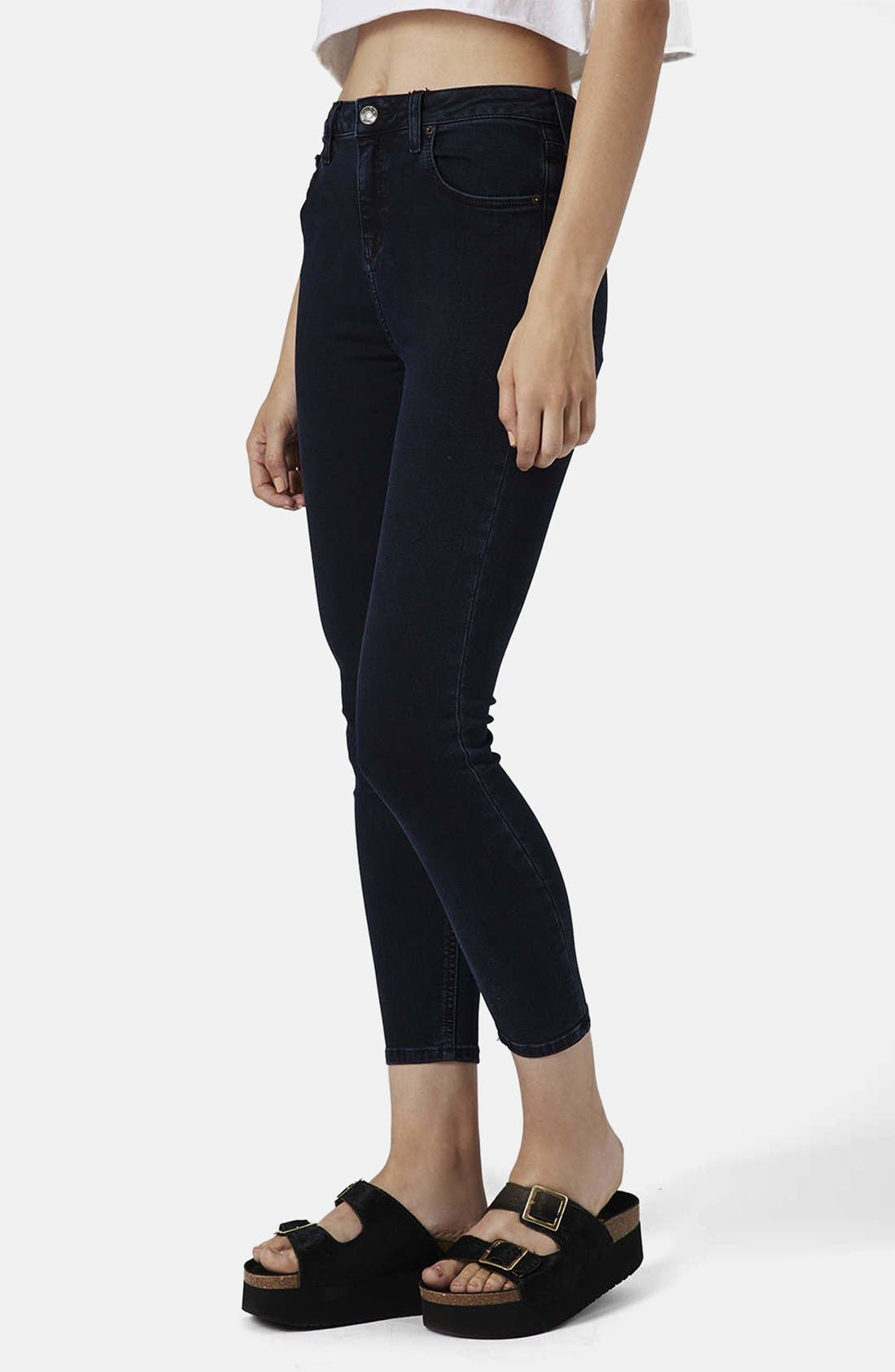 Alternate Image 1 Selected - Topshop Moto 'Jamie' High Rise Ankle Skinny Jeans (Blue Black) (Regular, Short & Long)