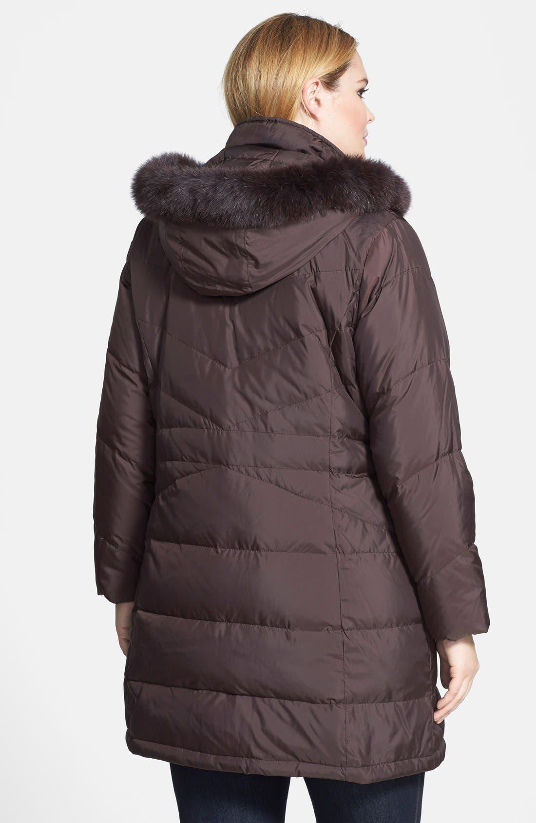 Genuine Fox Fur Trim Hooded Down Walking Coat,                             Alternate thumbnail 2, color,                             Mahogany