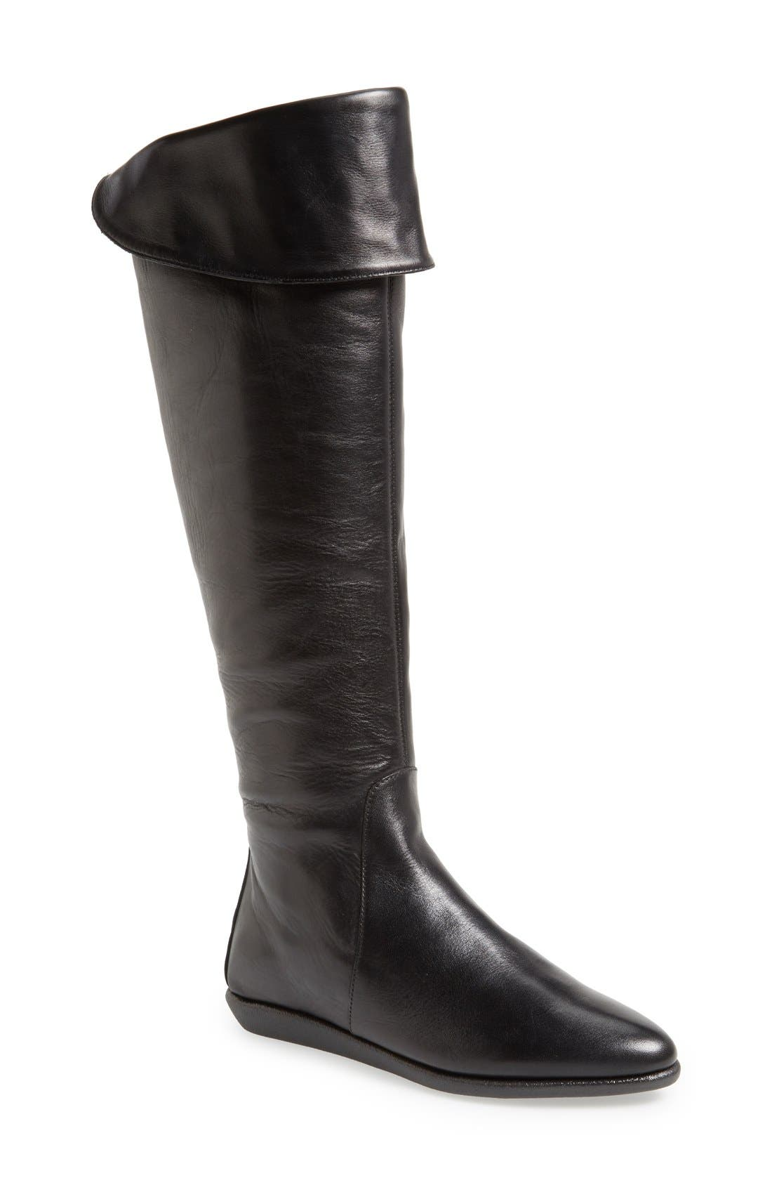 'Senator' Over the Knee Leather Boot,                             Main thumbnail 1, color,                             Black Cashmere