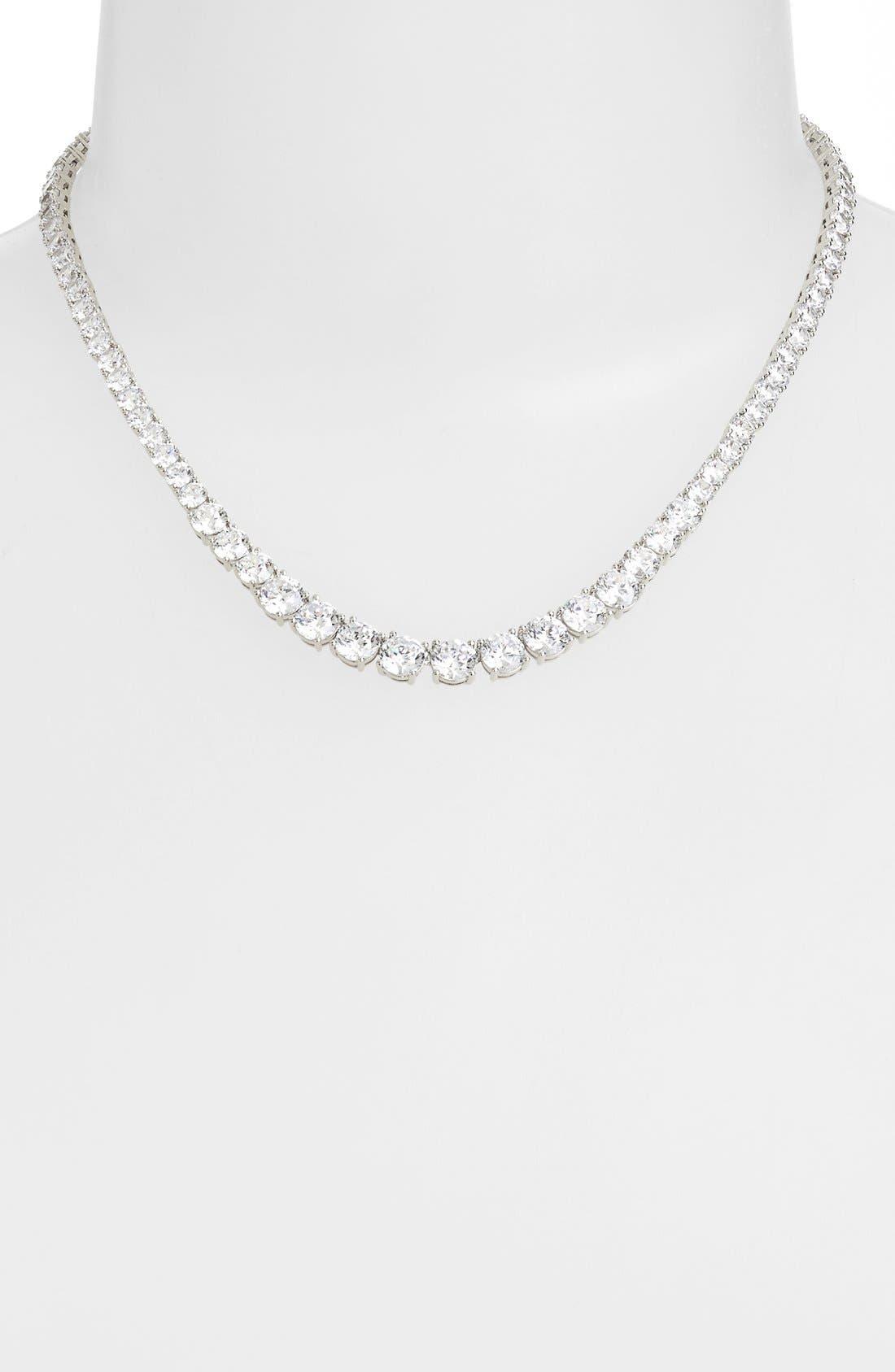 Cubic Zirconia Collar Necklace,                         Main,                         color, Silver