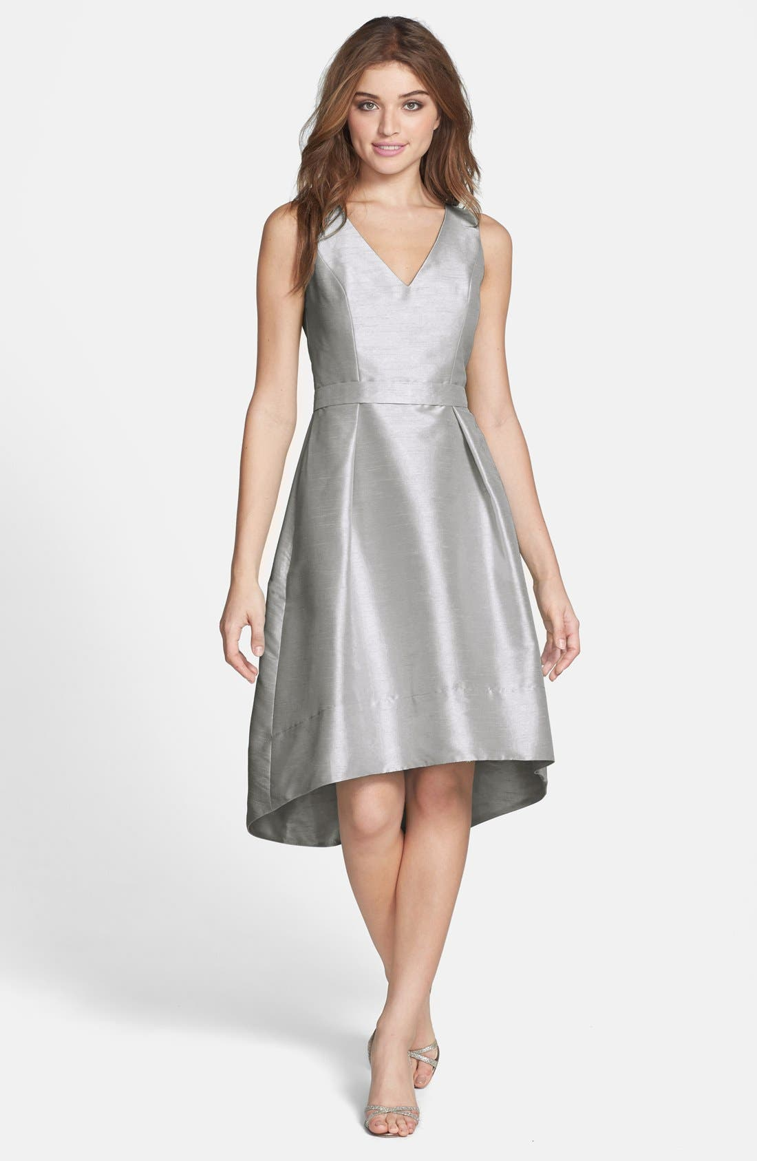 Satin High/Low Fit & Flare Dress,                             Main thumbnail 1, color,                             Dove