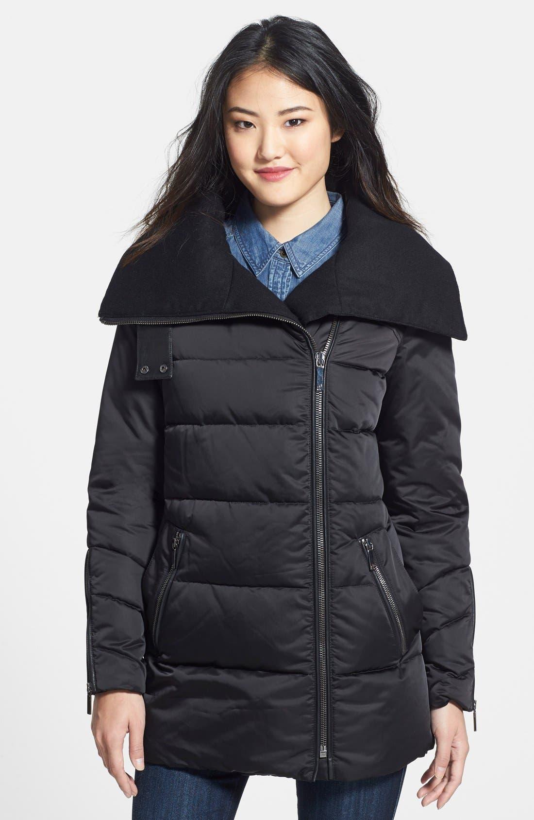 Oversize Collar Asymmetrical Down Coat,                         Main,                         color, Black