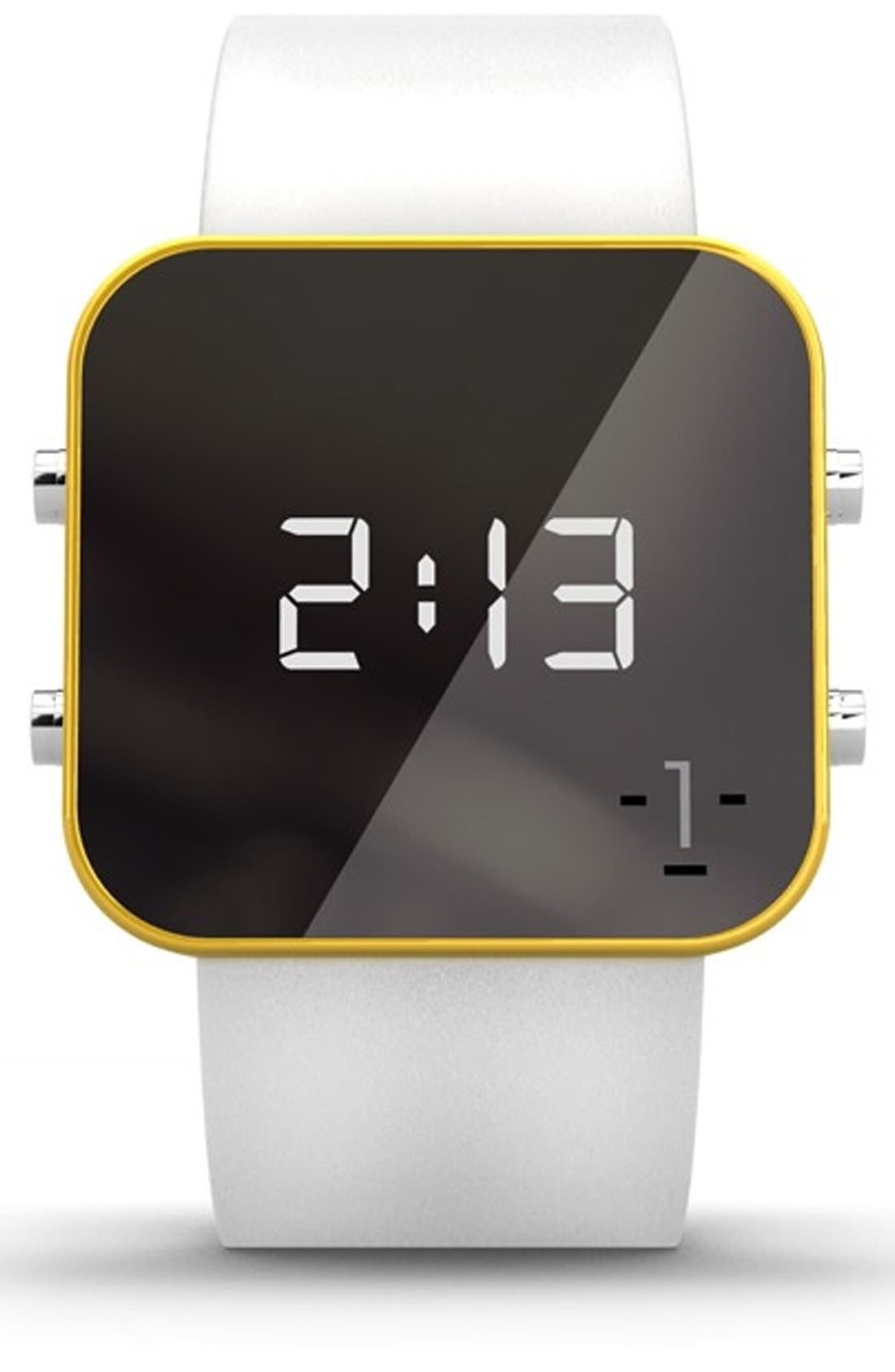 Main Image - 1:Face 'Water' Square Digital Silicone Strap Watch, 38mm