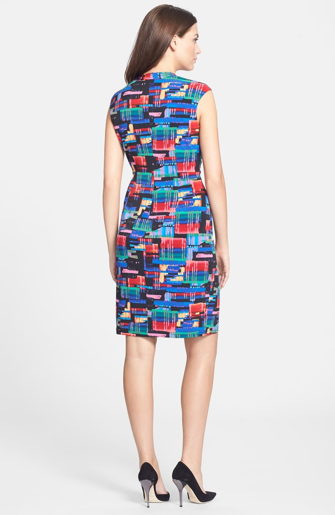 Alternate Image 2  - Ellen Tracy Print Faux Wrap Jersey Dress