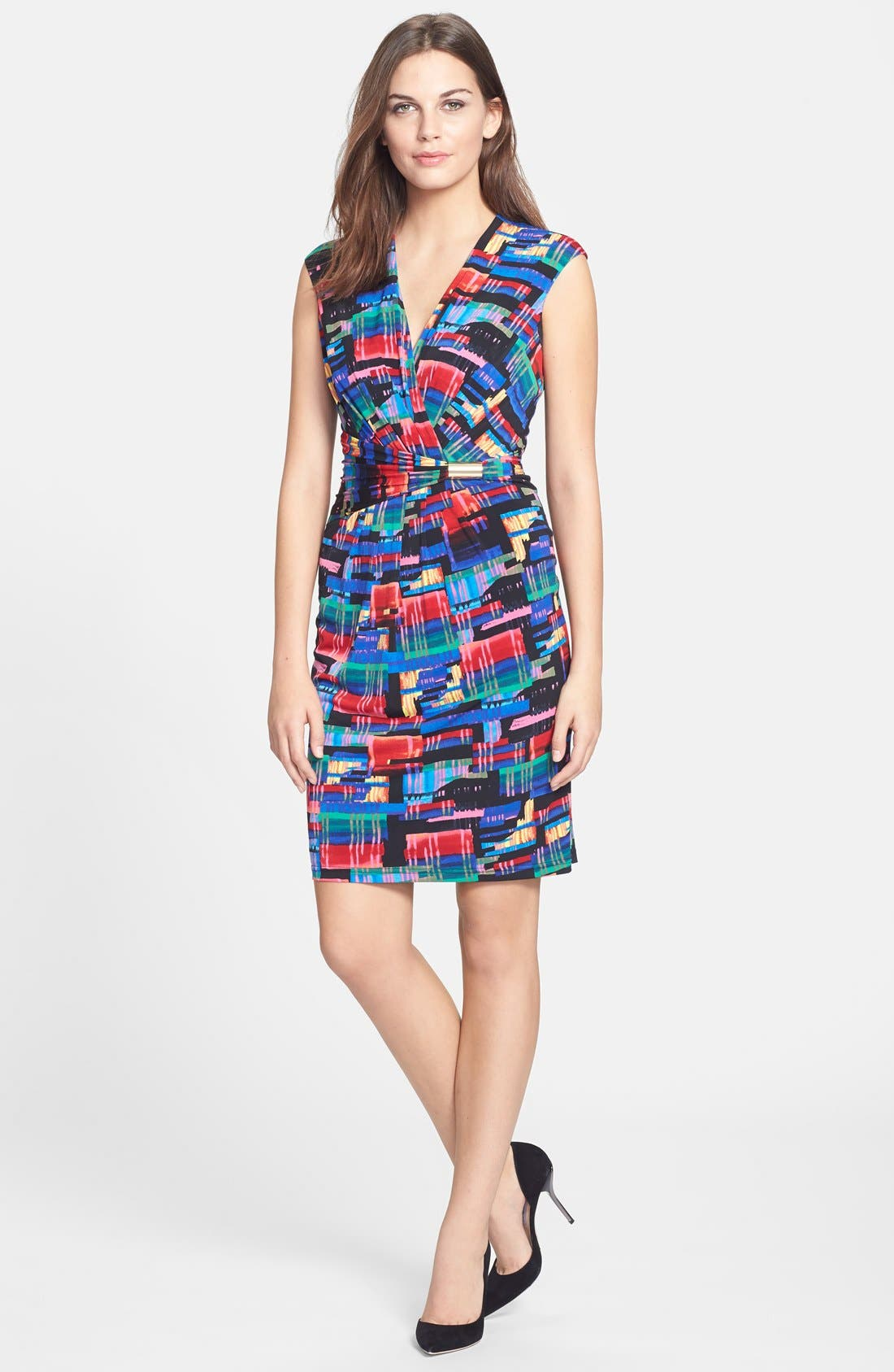 Alternate Image 3  - Ellen Tracy Print Faux Wrap Jersey Dress