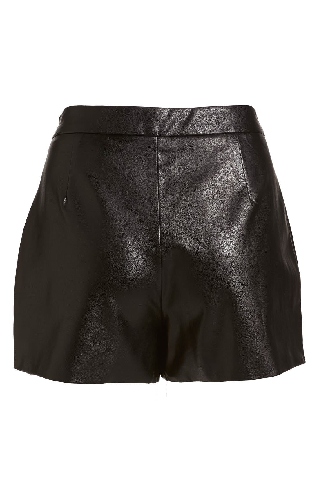 Alternate Image 5  - izzue Faux Leather Mini Shorts (Women)