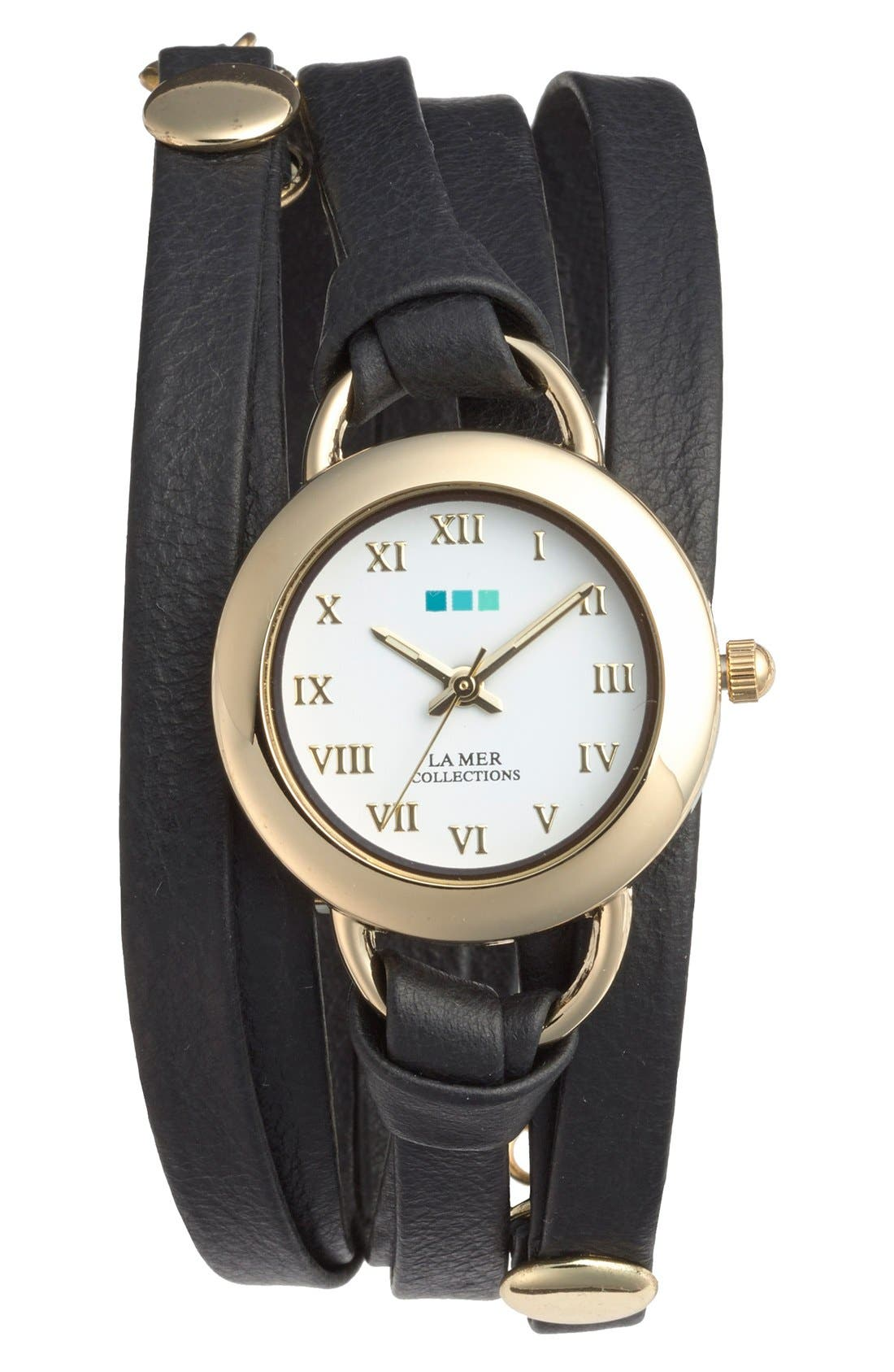'Saturn' Leather Wrap Bracelet Watch, 22mm,                         Main,                         color, Black/ Gold