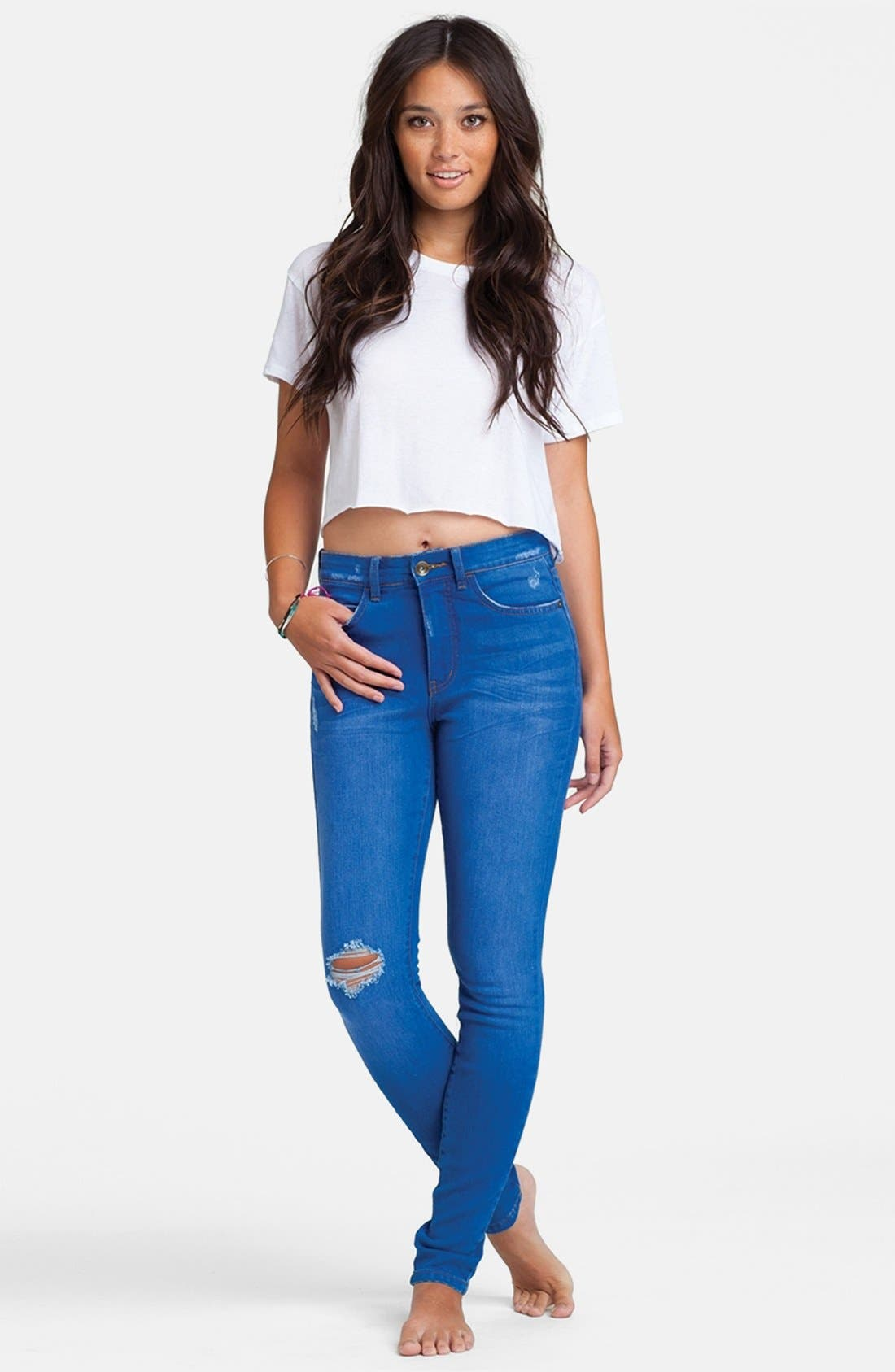 Main Image - Billabong 'Night Rider' Destroyed Skinny Jeans (Vivid Blue)