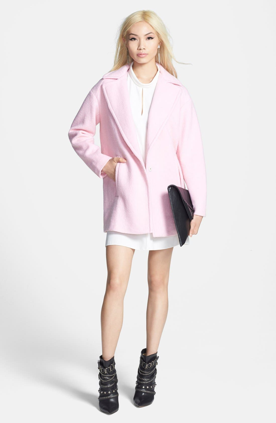 Single Button Car Coat,                             Alternate thumbnail 4, color,                             Baby Pink