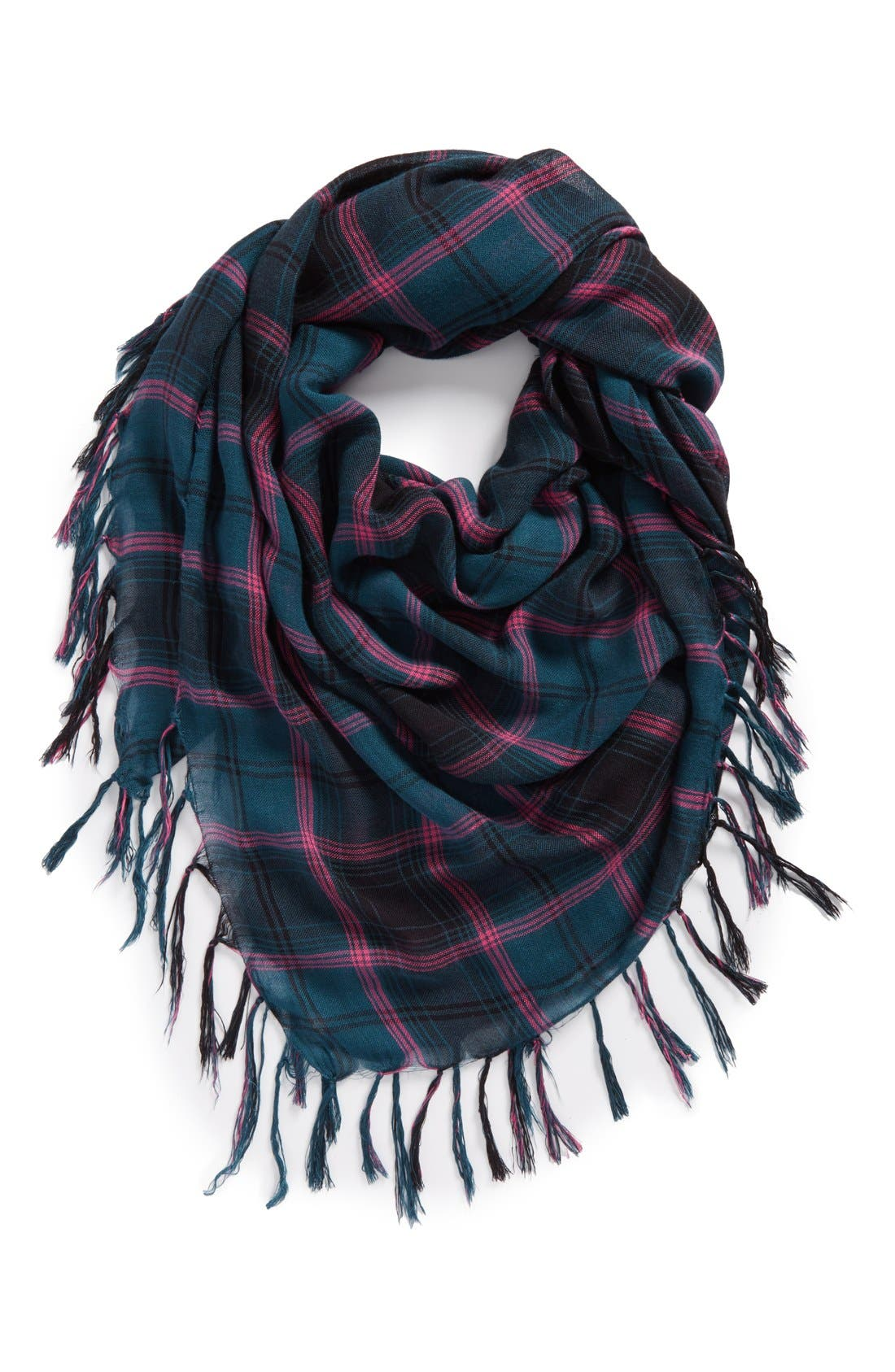 Alternate Image 1 Selected - David & Young Plaid Square Scarf (Juniors)