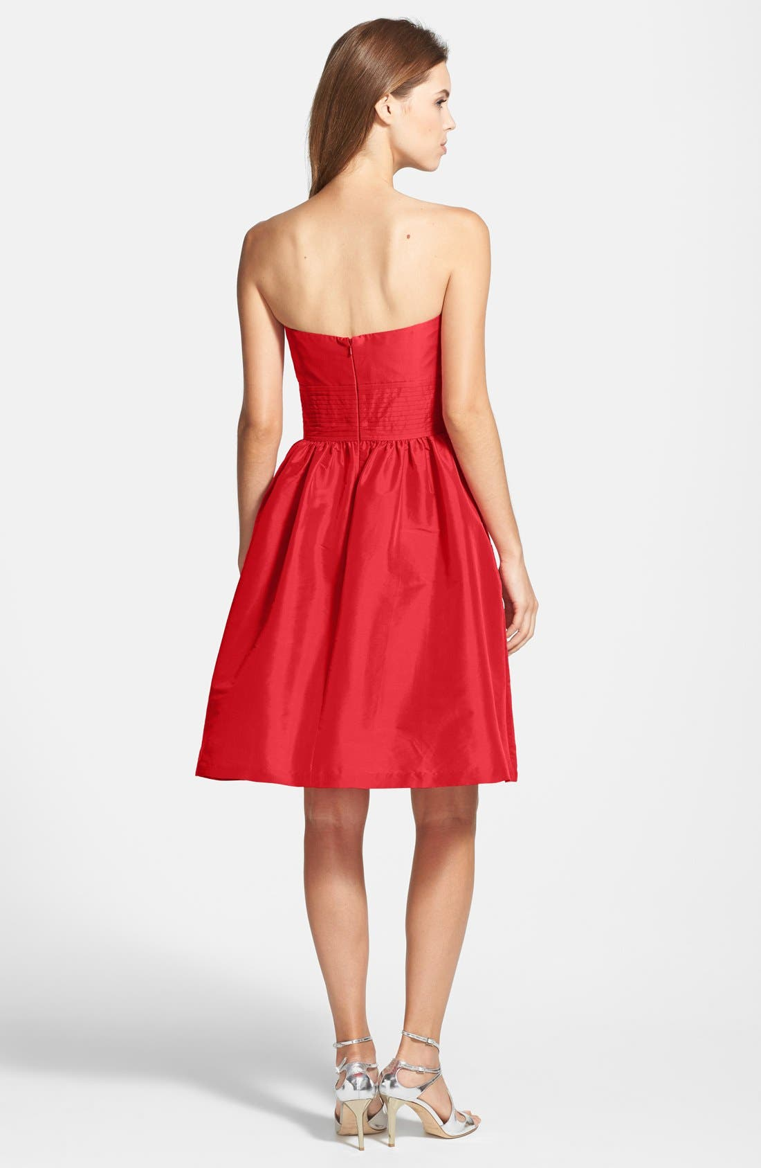 Alternate Image 2  - Alfred Sung Strapless Satin Fit & Flare Dress
