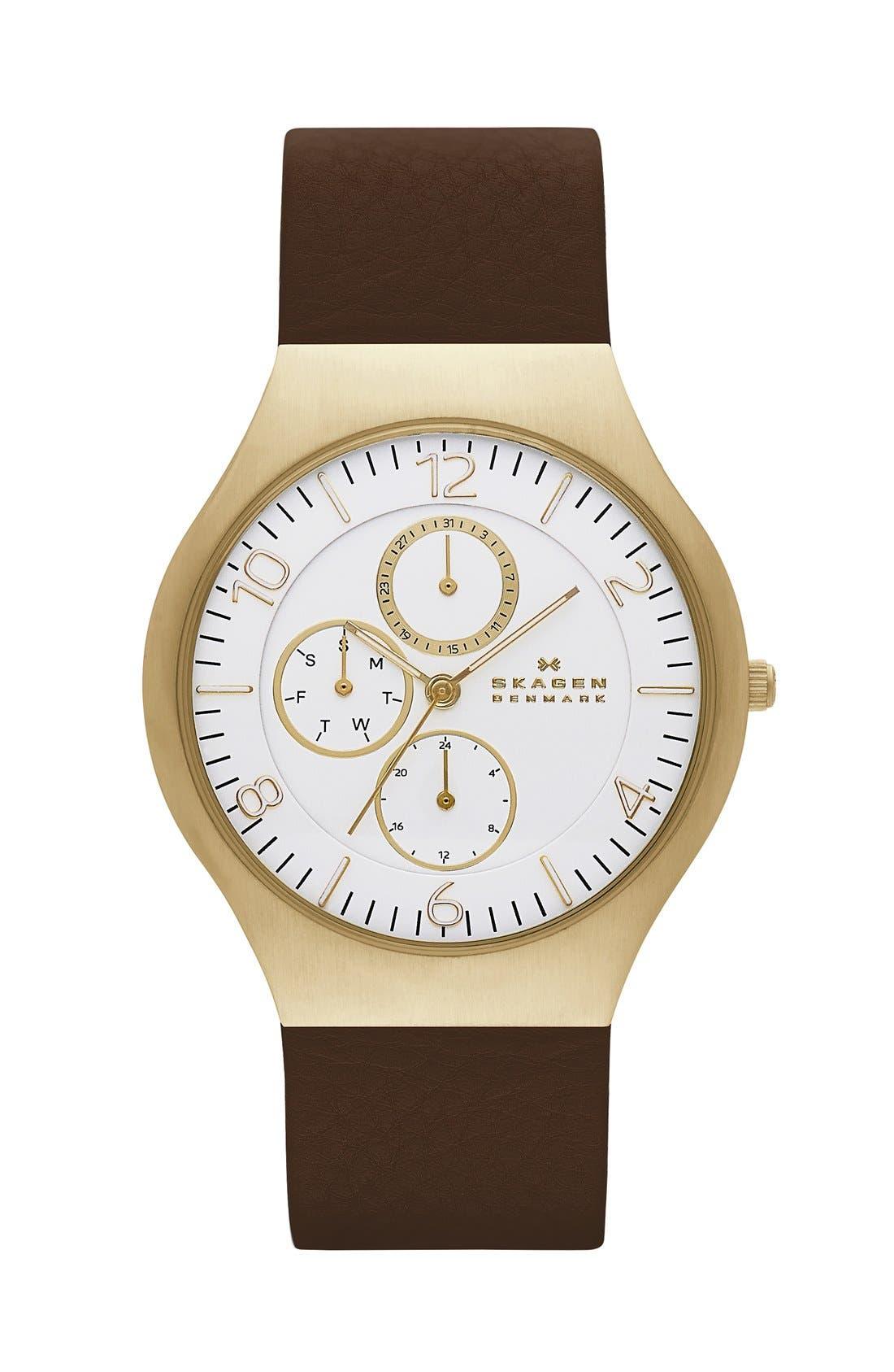 Alternate Image 1 Selected - Skagen 'Grenen' Multifunction Leather Strap Watch, 41mm