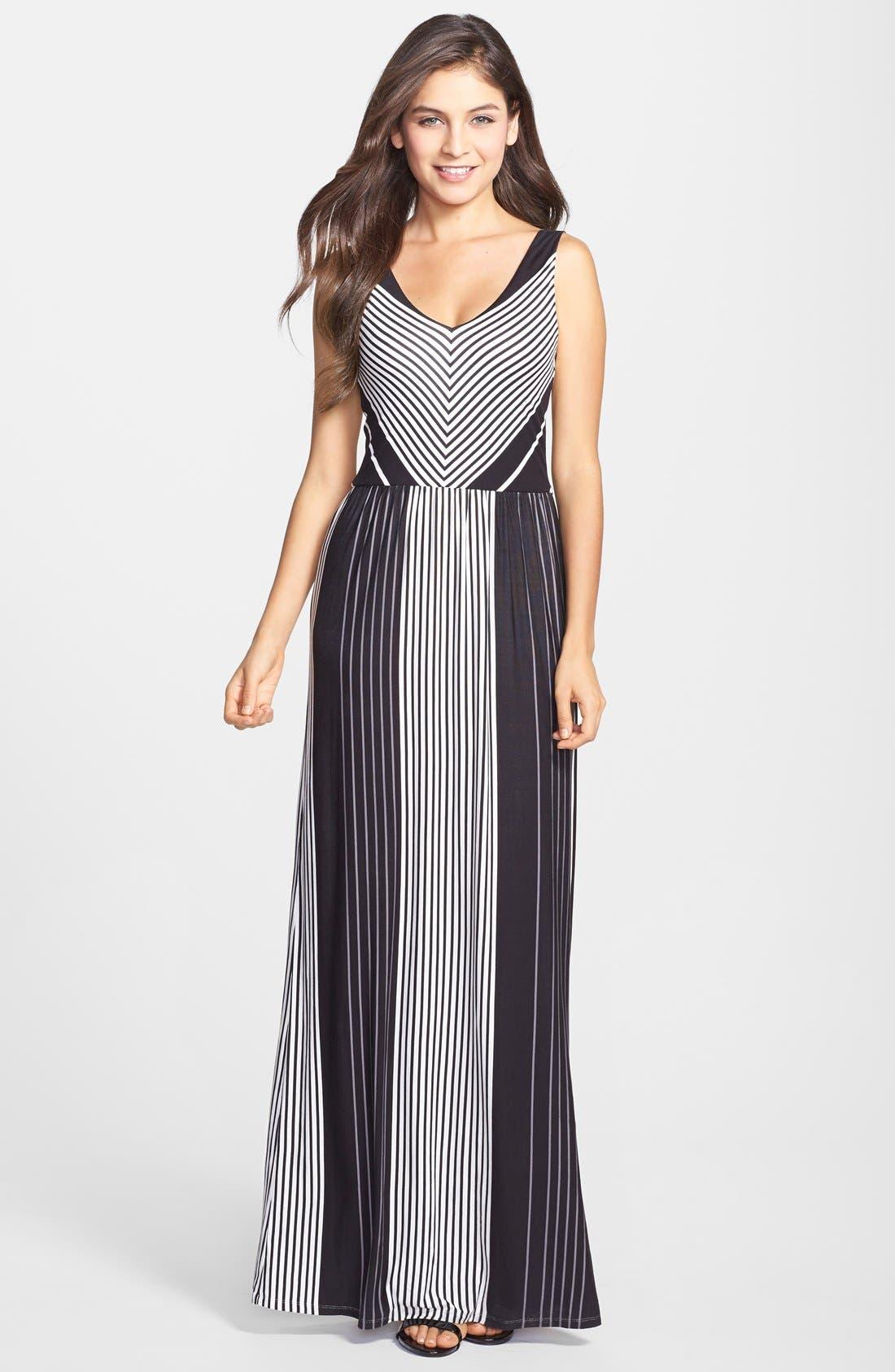 Main Image - Felicity & Coco Stripe V-Neck Maxi Dress (Regular & Petite) (Nordstrom Exclusive)