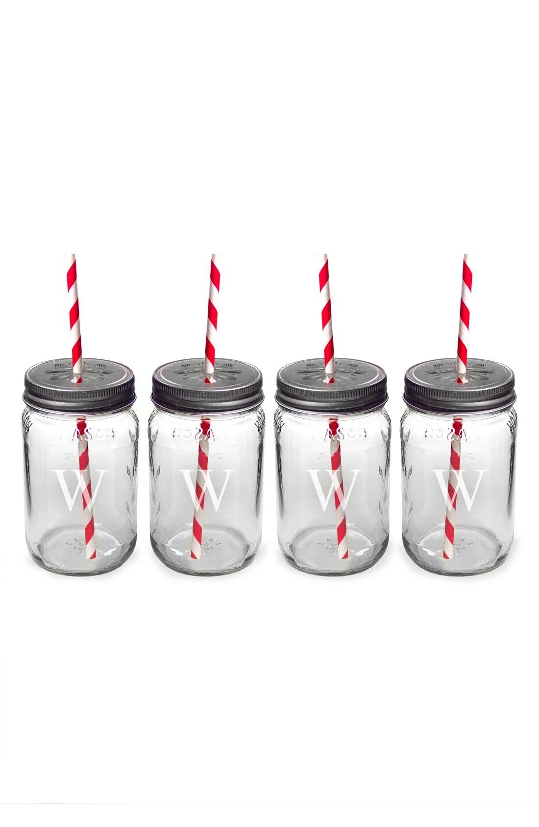Monogram Drinking Mason Jar Mugs,                             Alternate thumbnail 2, color,
