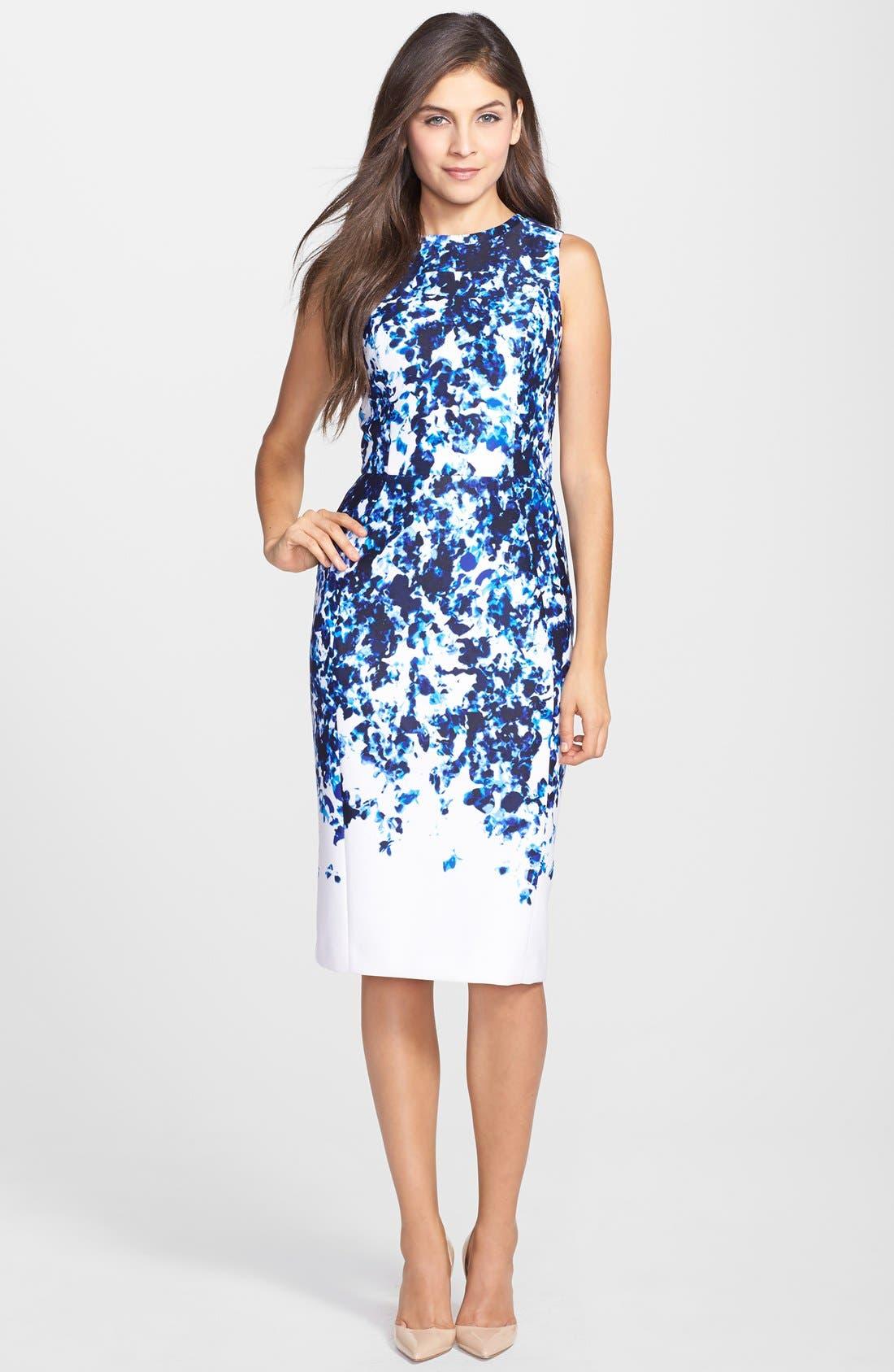 Alternate Image 3  - Vince Camuto Print Scuba Sheath Dress (Regular & Petite)