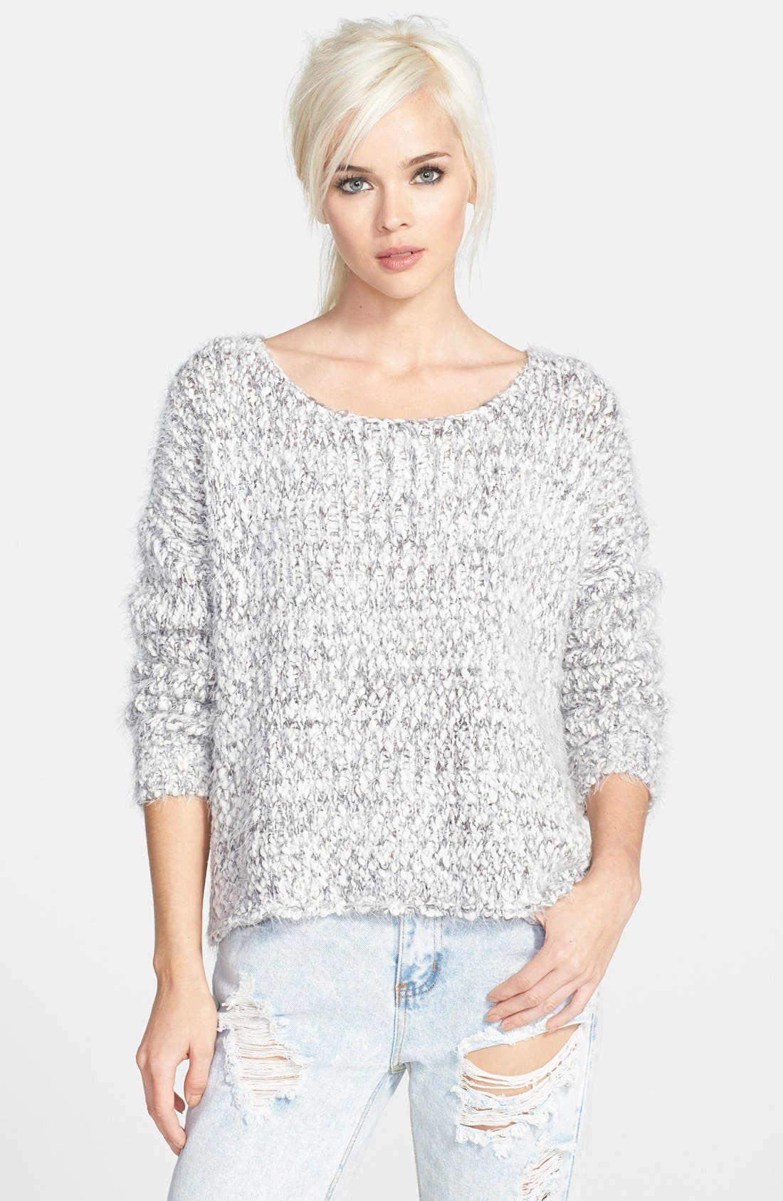 ASTR Marled Fringe Sweater,                             Main thumbnail 1, color,                             Grey/ Cream