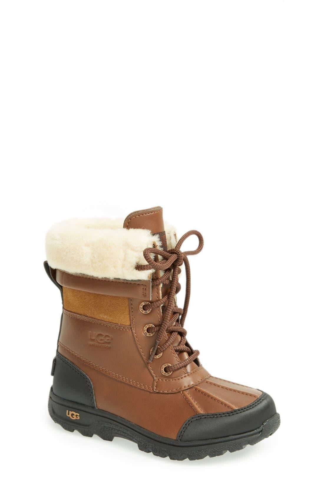 Alternate Image 1 Selected - UGG® 'Butte II' Waterproof Leather Boot (Little Kid & Big Kid)