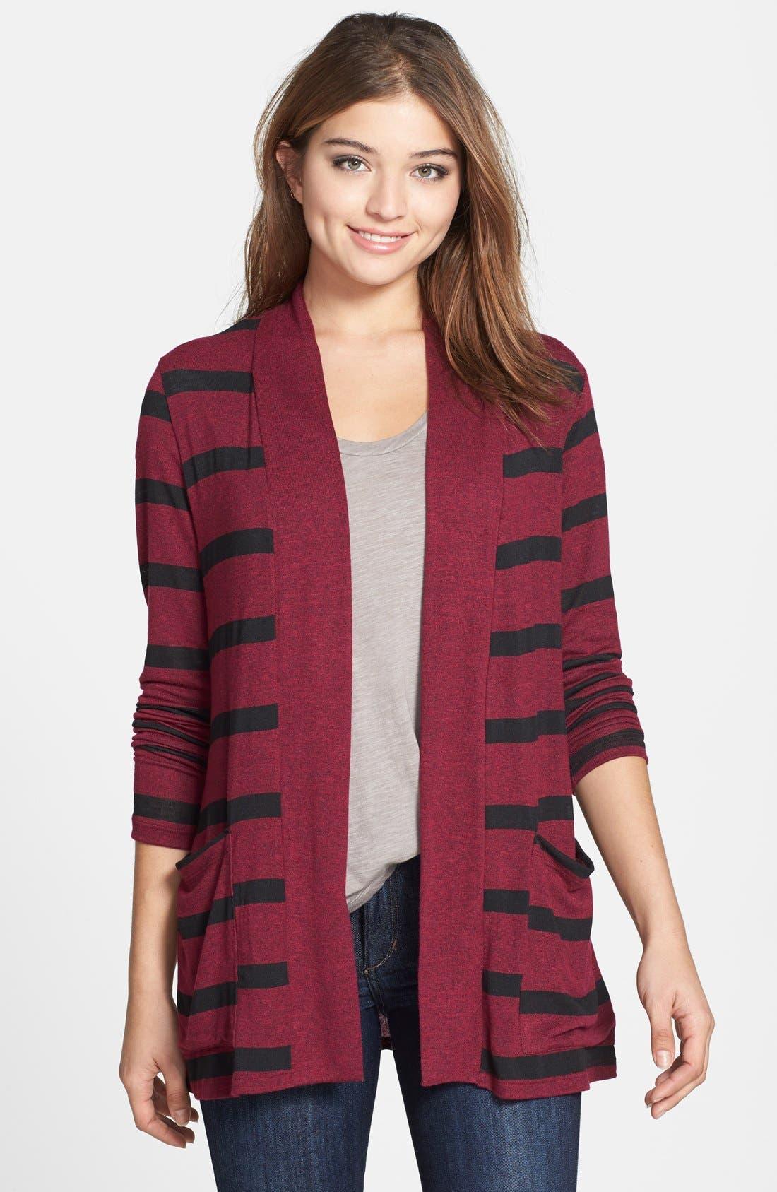 Open Front Cardigan,                         Main,                         color, Currant/ Black Stripe