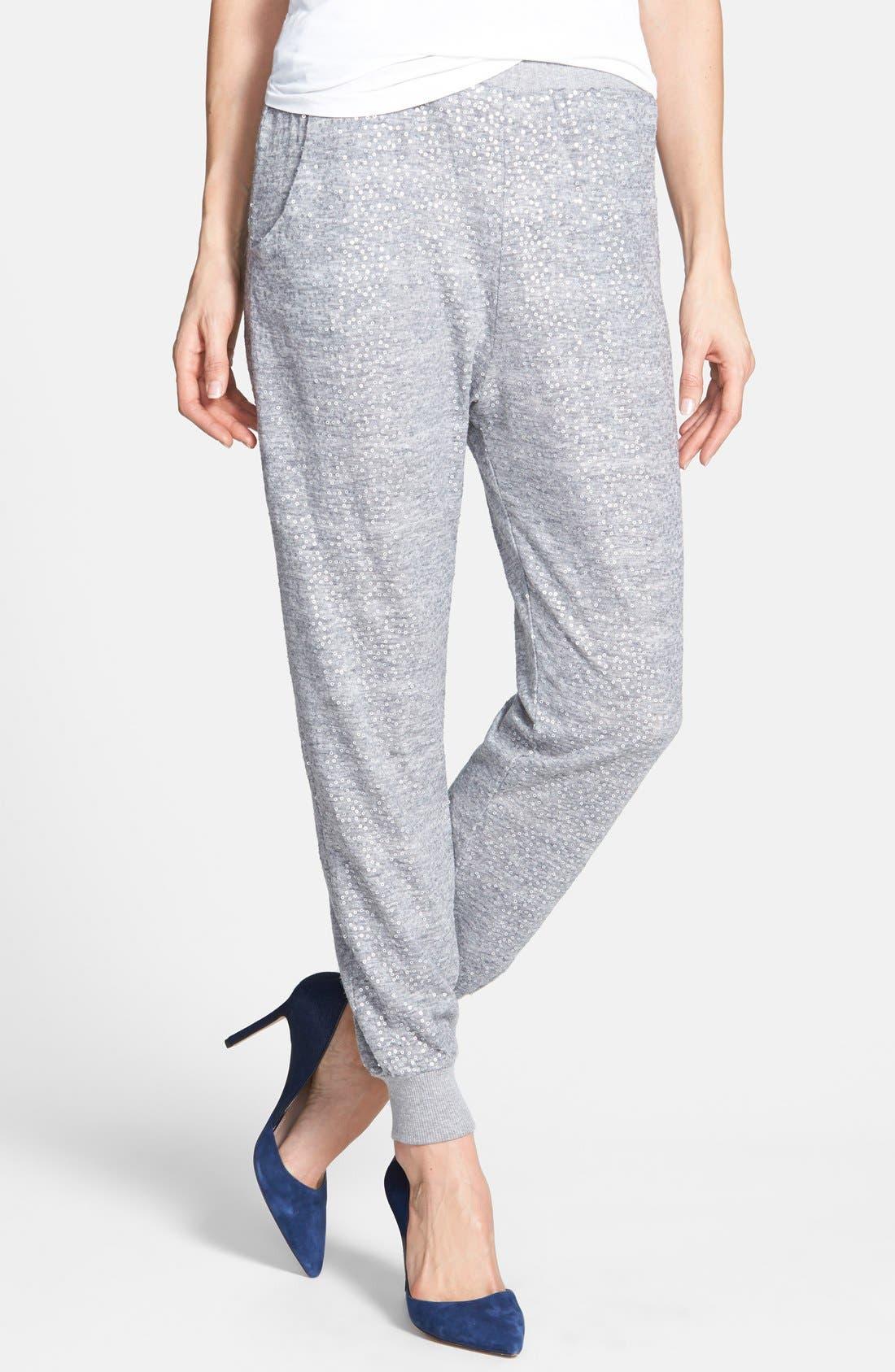 Sequin Track Pants,                             Main thumbnail 1, color,                             Grey