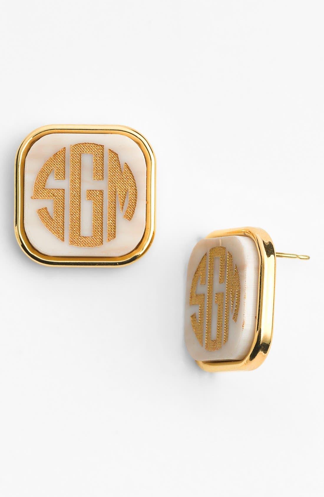 Alternate Image 1 Selected - Moon and Lola 'Vineyard' Personalized Monogram Stud Earrings
