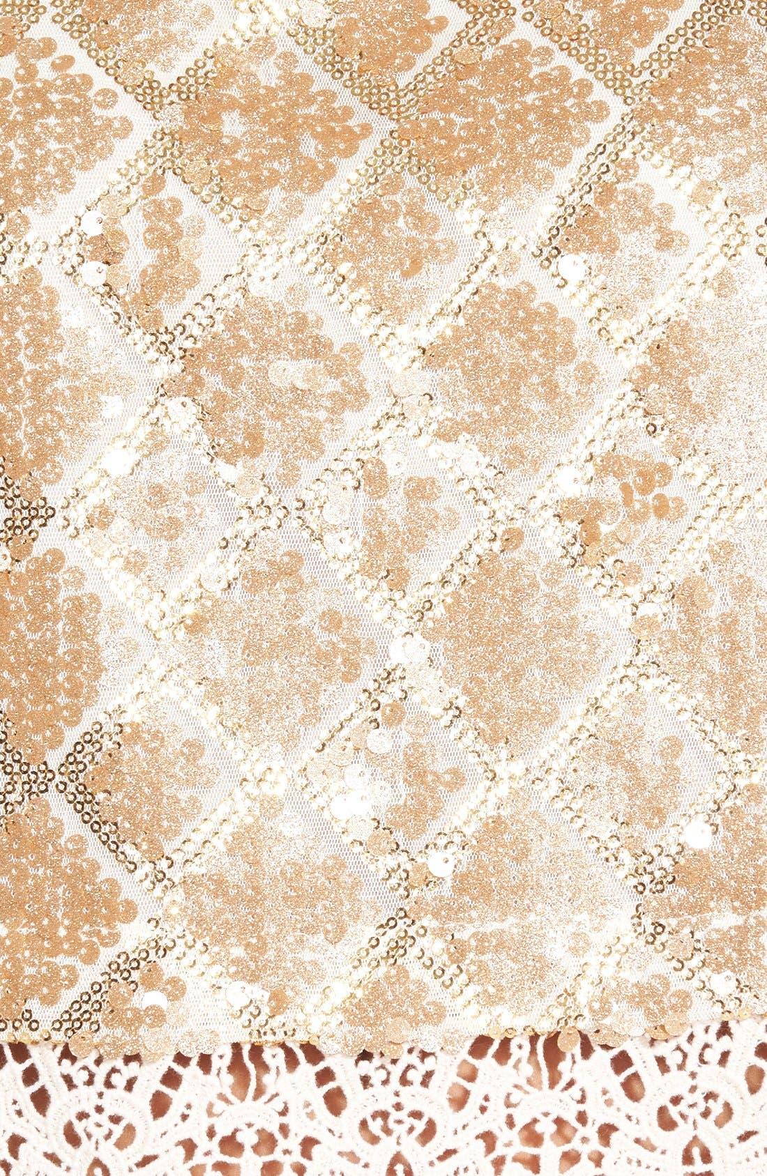 ASTR Sequin Crochet Shell,                             Alternate thumbnail 3, color,                             Gold