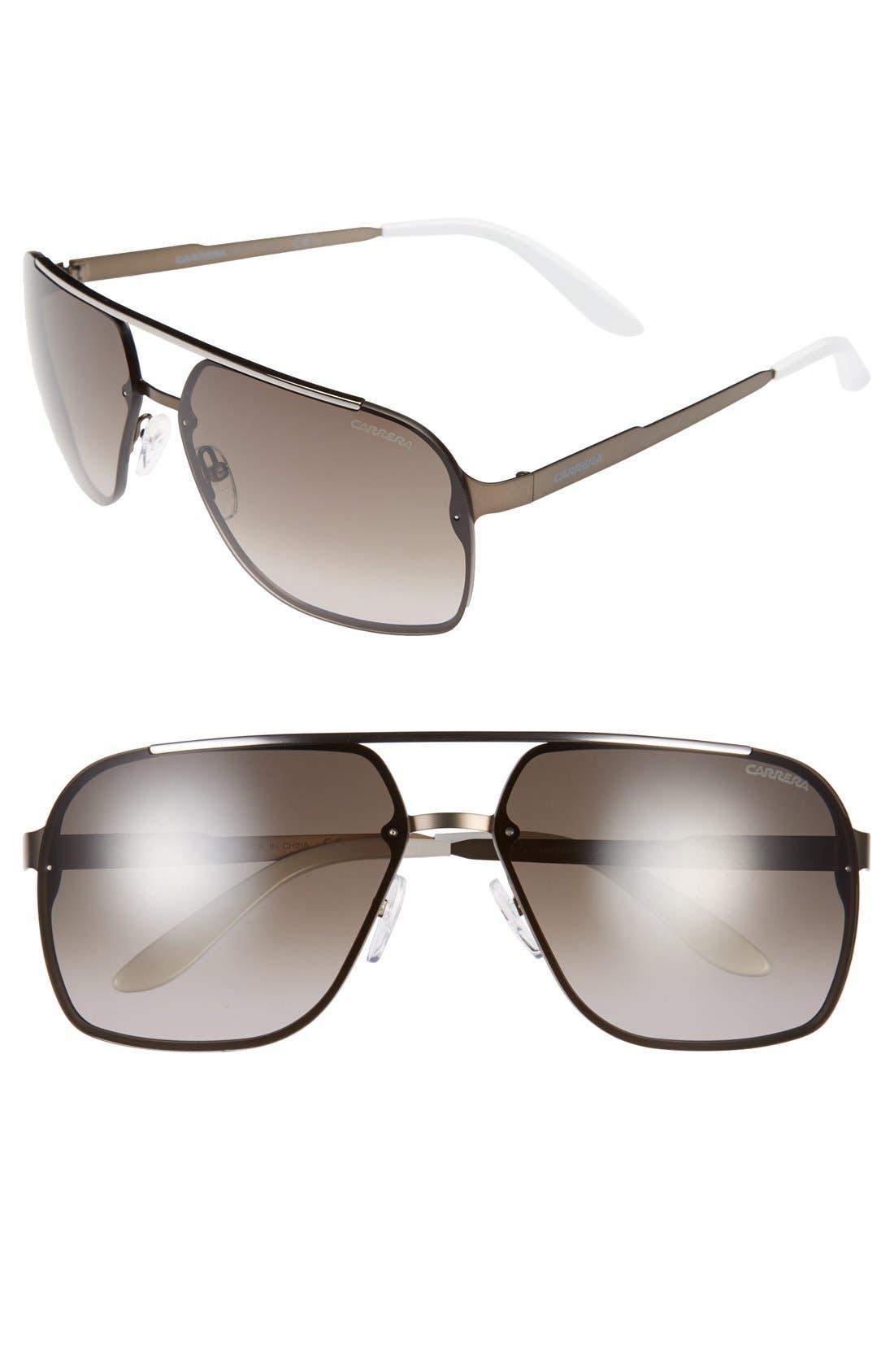 64mm Navigator Sunglasses,                             Main thumbnail 1, color,                             Matte Brown/ Brown Gradient