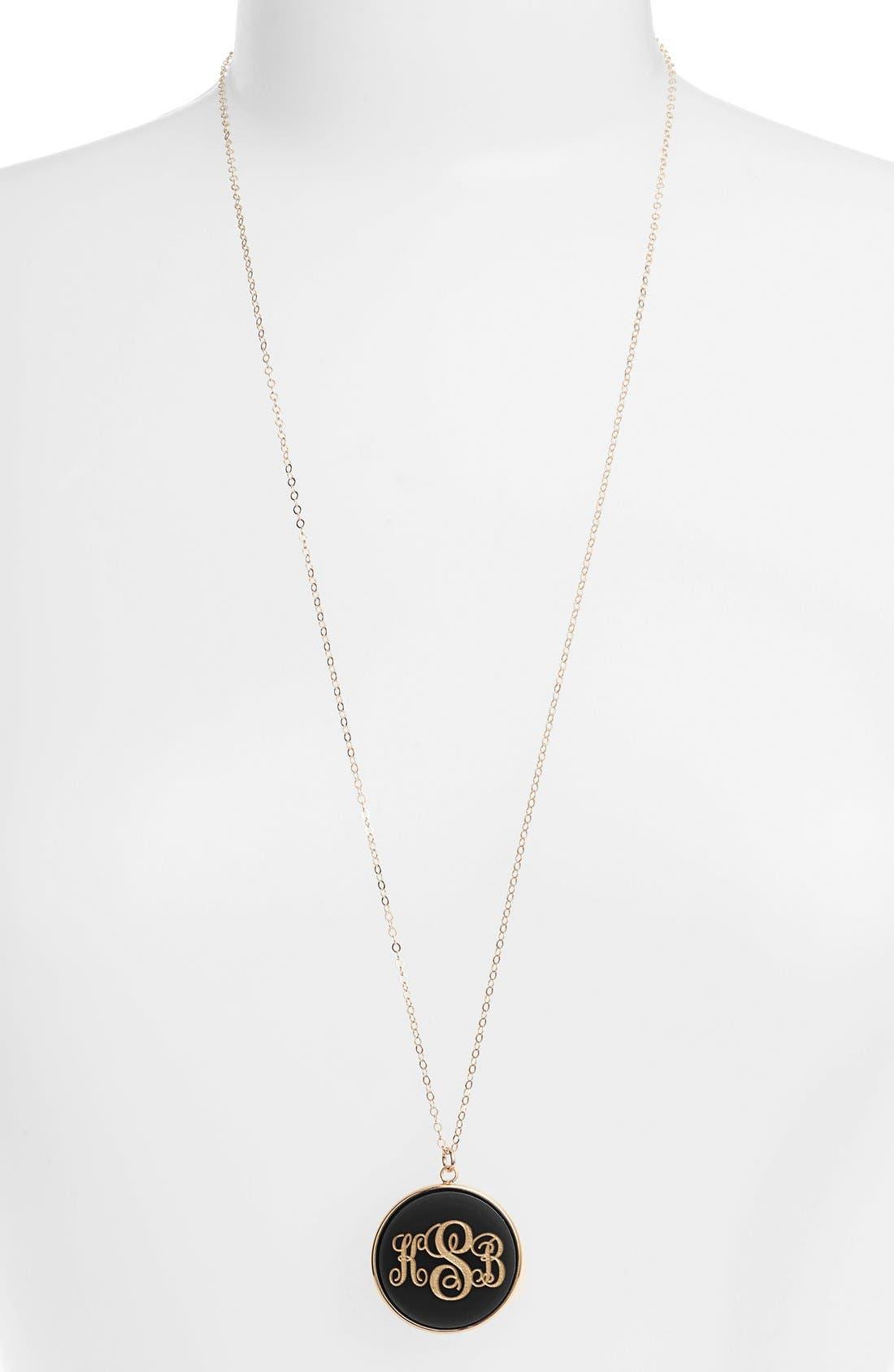 'Vineyard' Personalized Monogram Pendant Necklace,                             Main thumbnail 1, color,                             Black