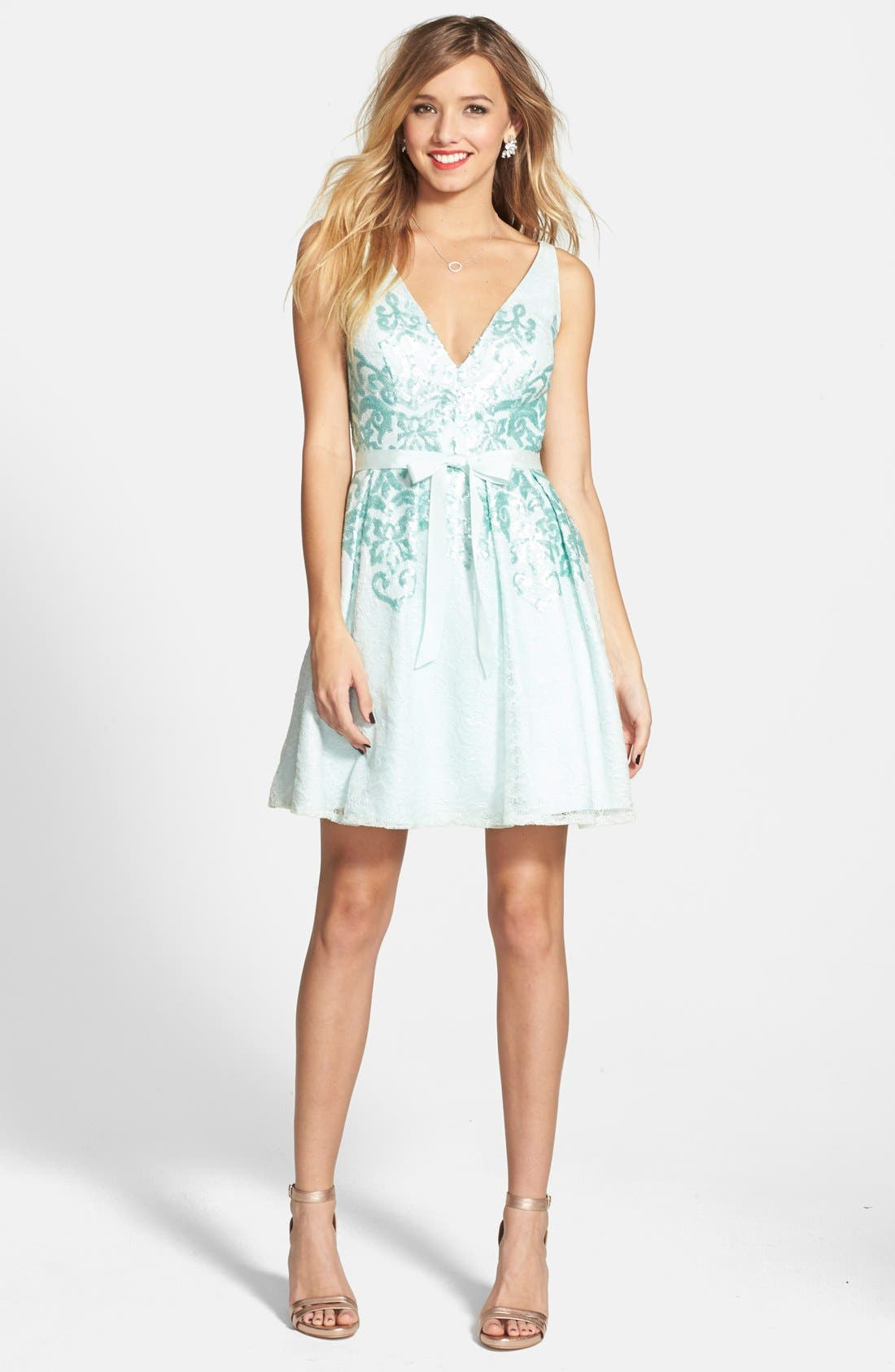 Alternate Image 3  - Hailey by Adrianna Papell Bow Detail Matte Sequin Fit & Flare Dress