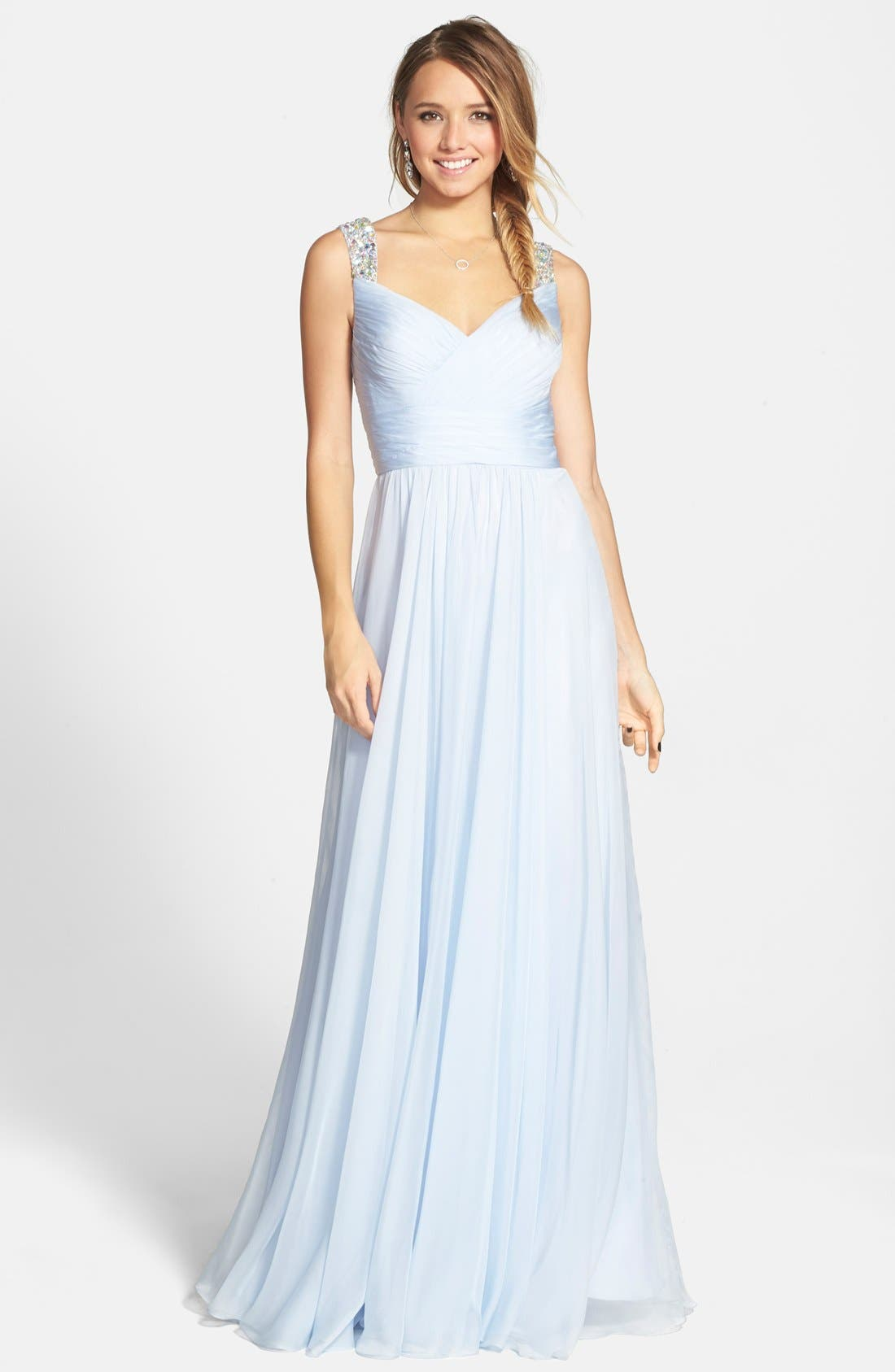Main Image - La Femme Beaded Strap Ruched Chiffon Gown