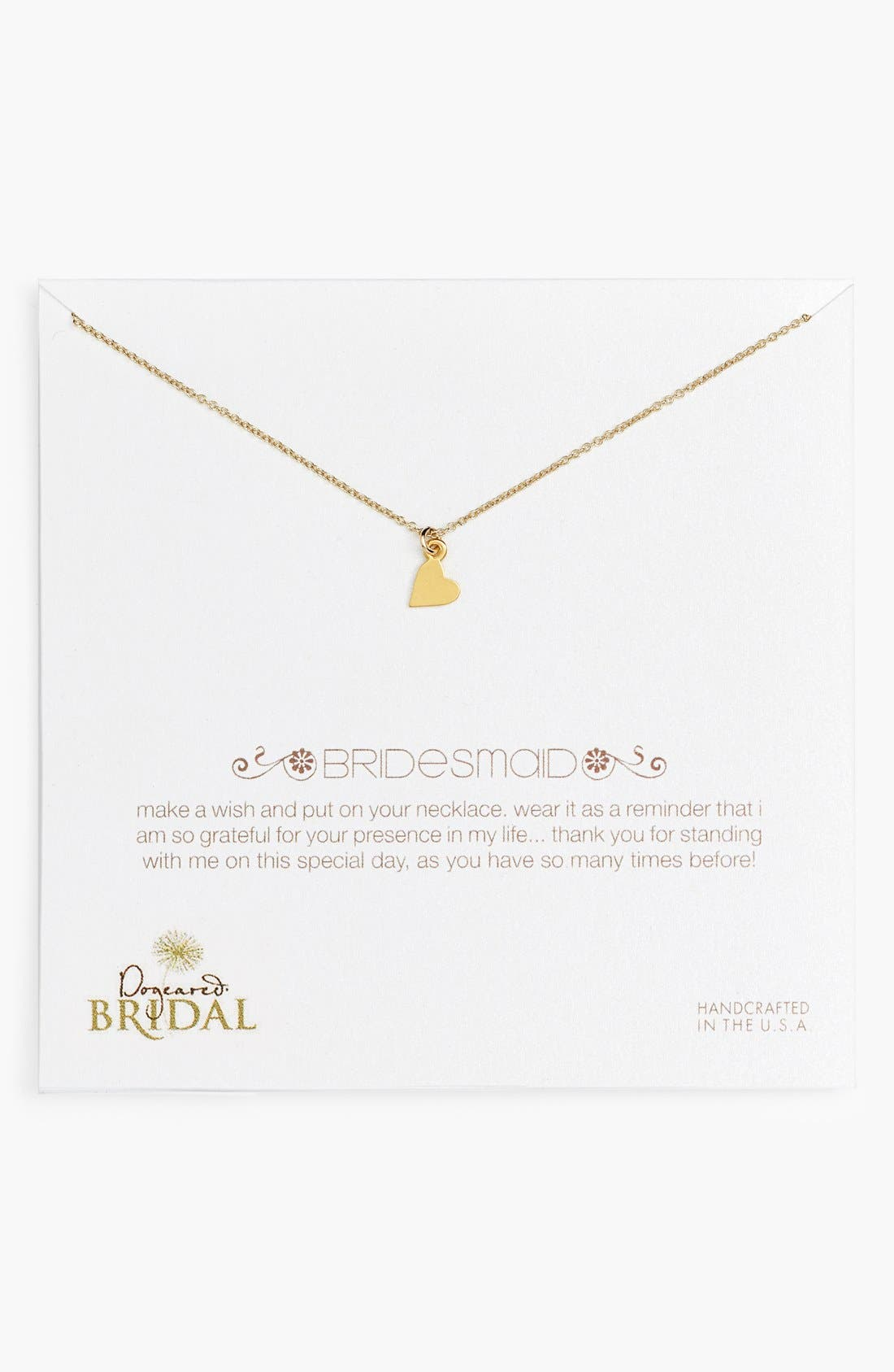 Main Image - Dogeared 'Bridesmaid - Heart' Pendant Necklace (Nordstrom Exclusive)