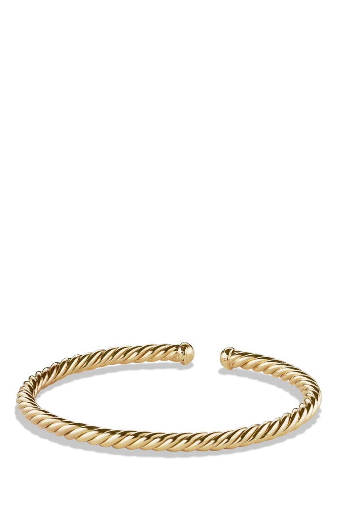 Cable Spira Bracelet in 18K Gold, 4mm,                             Main thumbnail 1, color,                             Gold