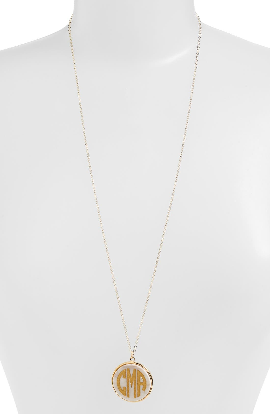 MOON AND LOLA 'Vineyard' Personalized Monogram Pendant Necklace in Blonde Tortoise