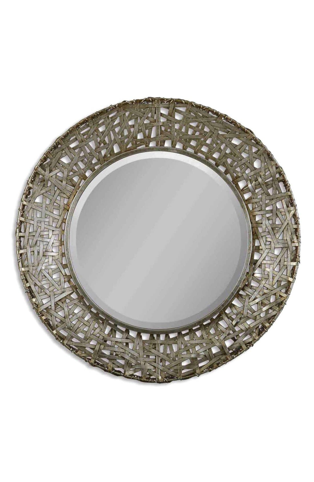 'Alita' Woven Metallic Frame Mirror,                             Main thumbnail 1, color,                             Silver