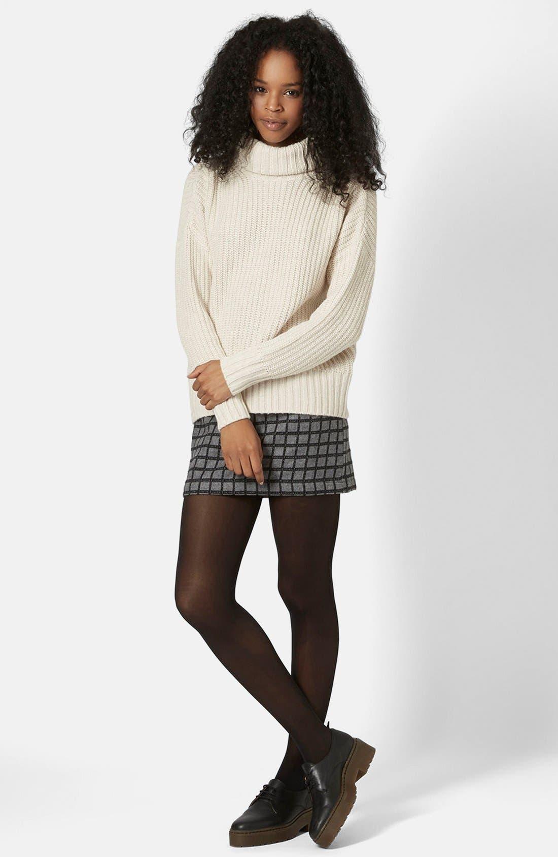 Alternate Image 5  - Topshop Grid Miniskirt