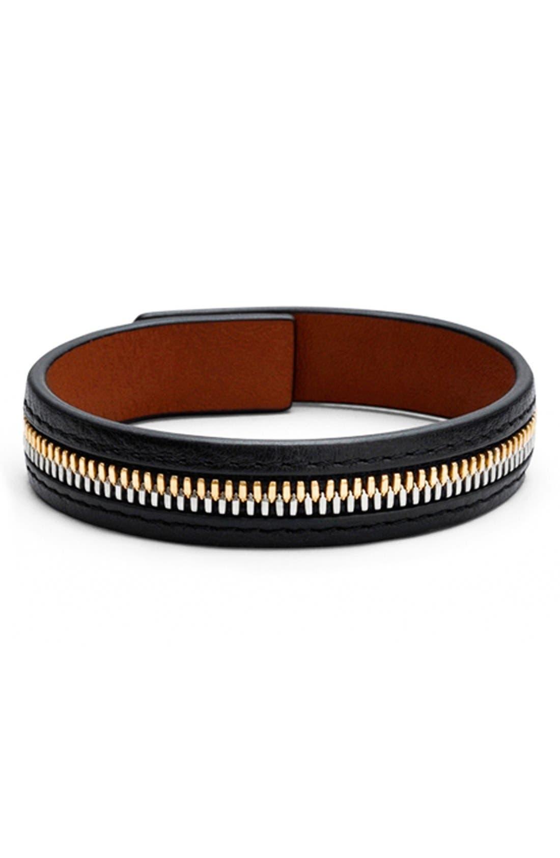 'Tambo' Zip Bracelet,                             Alternate thumbnail 2, color,                             Black/ Cognac