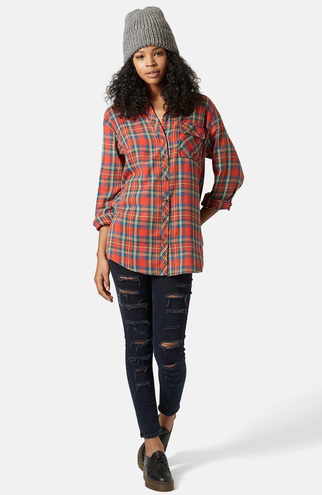 Alternate Image 5  - Topshop 'Marvin' Oversize Check Shirt