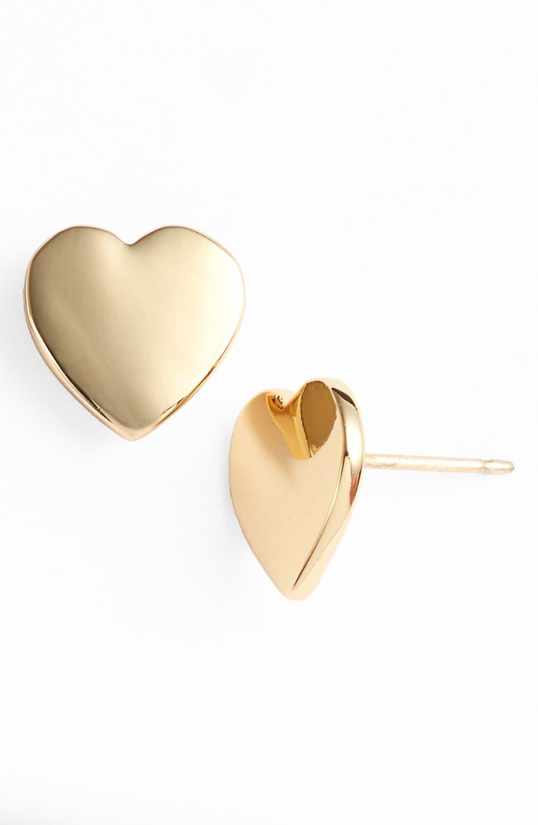 'dear valentine' stud earrings,                         Main,                         color, Gold