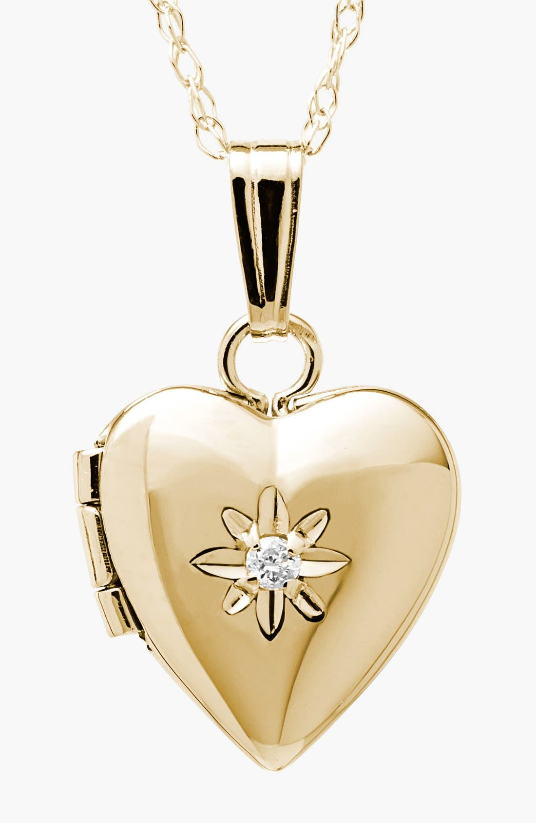 14k Gold & Diamond Heart Locket Necklace,                             Main thumbnail 1, color,                             Gold