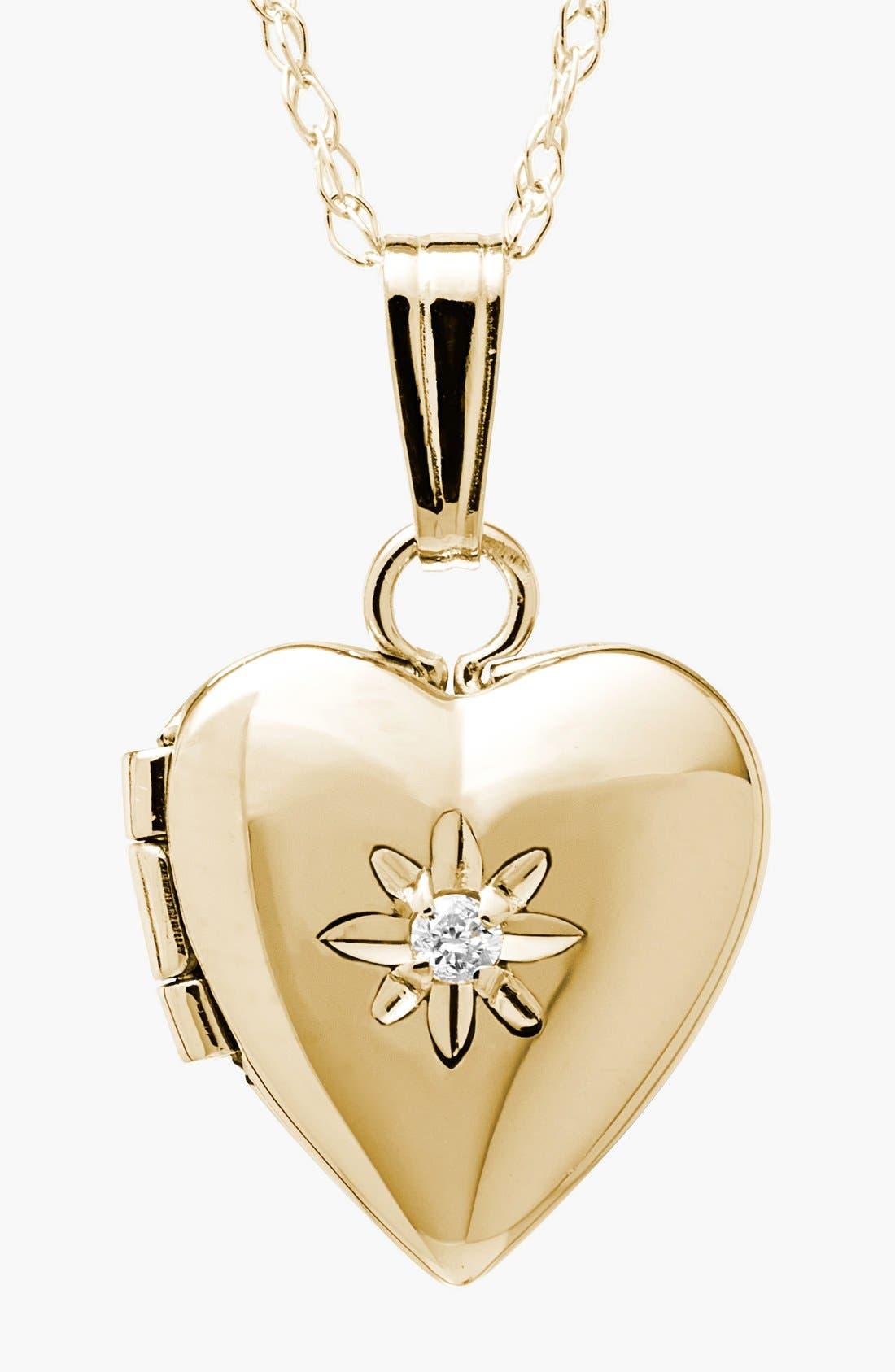Main Image - Mignonette 14k Gold & Diamond Heart Locket Necklace (Baby Girls)