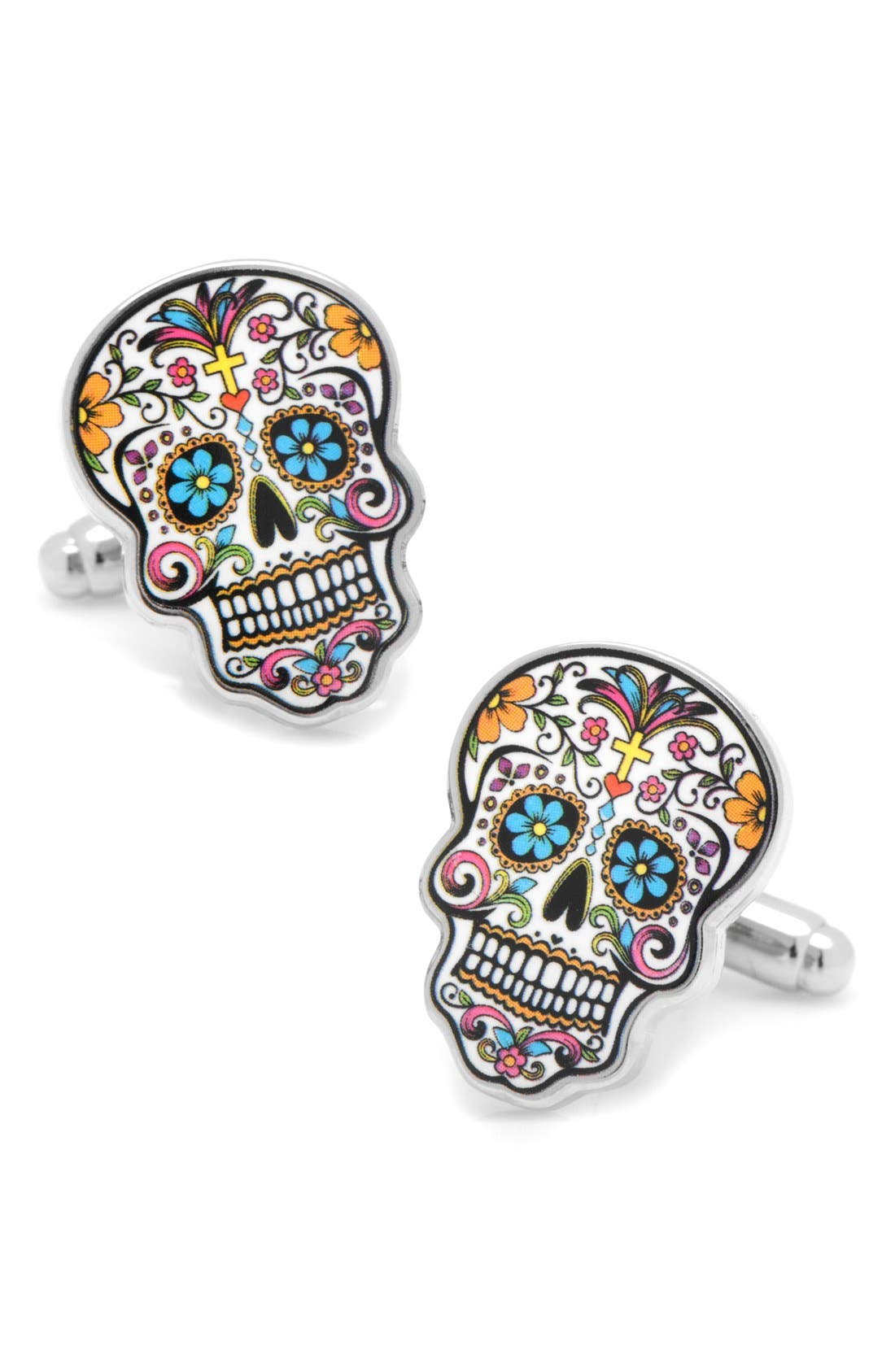 'Day of the Dead' Cuff Links,                         Main,                         color, Silver/ Black/ Pink