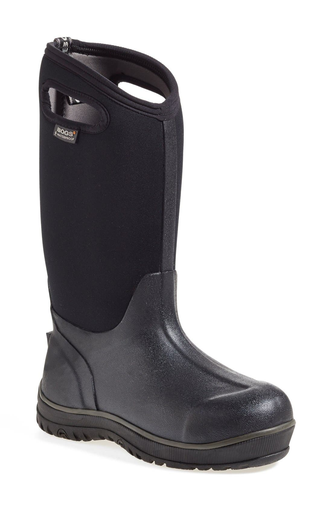 'Classic' Ultra High Waterproof Snow Boot with Cutout Handles,                             Main thumbnail 1, color,                             Black