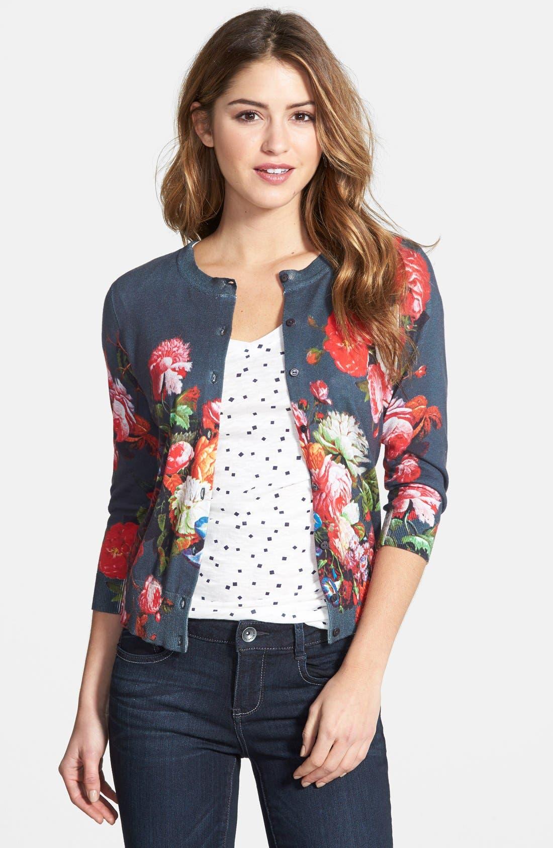 Halogen® Floral Print Cardigan (Regular & Petite)