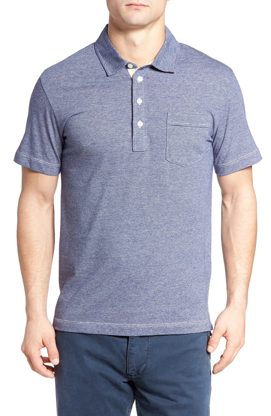 Alternate Image 1 Selected - Billy Reid 'Pensacola' Mini Stripe Slim Fit Jersey Polo