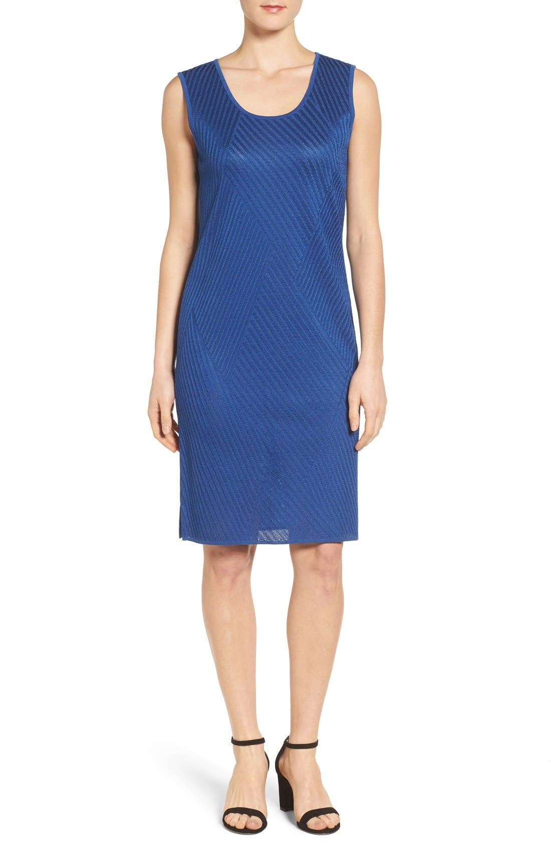 Texture Knit Sheath Dress,                         Main,                         color, Riviera