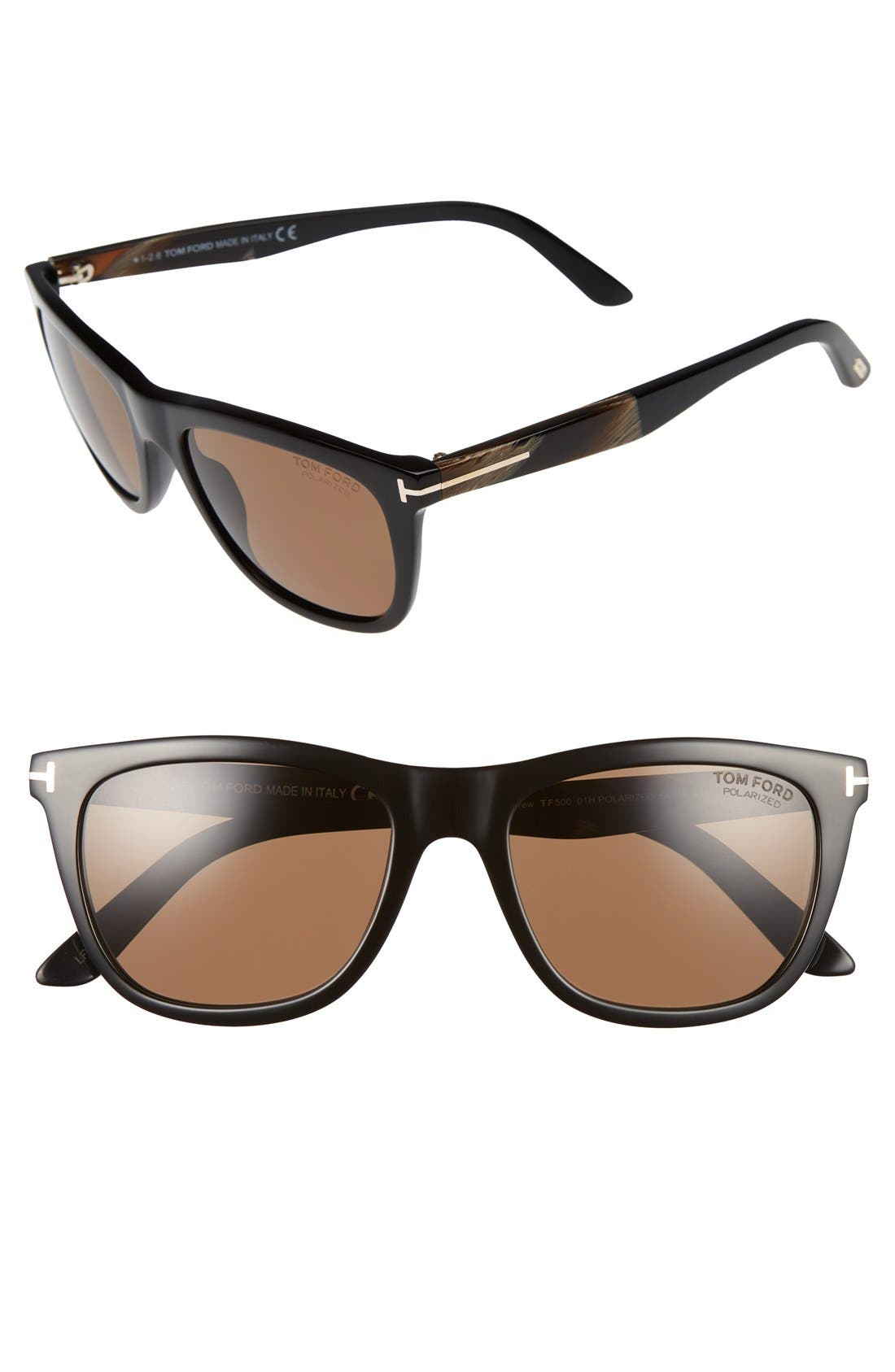 Andrew 54mm Sunglasses,                             Main thumbnail 1, color,                             Black/ Brown Horn/ Brown Polar