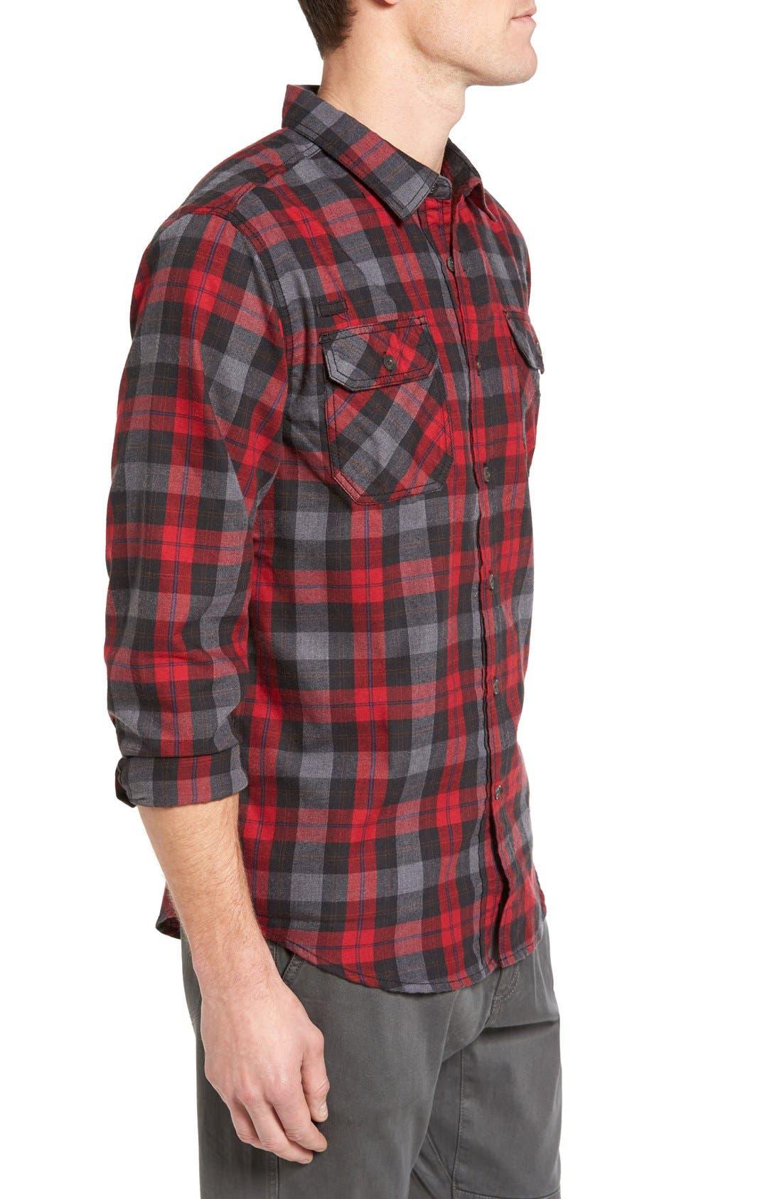 Burner Regular Fit Plaid Flannel Shirt,                             Alternate thumbnail 3, color,                             Fiery Red