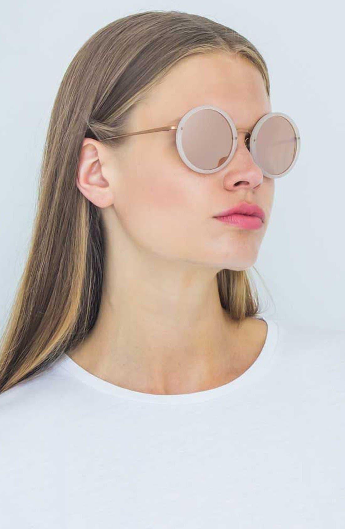 Alternate Image 3  - Linda Farrow 51mm Round 18 Karat Rose Gold Trim Sunglasses